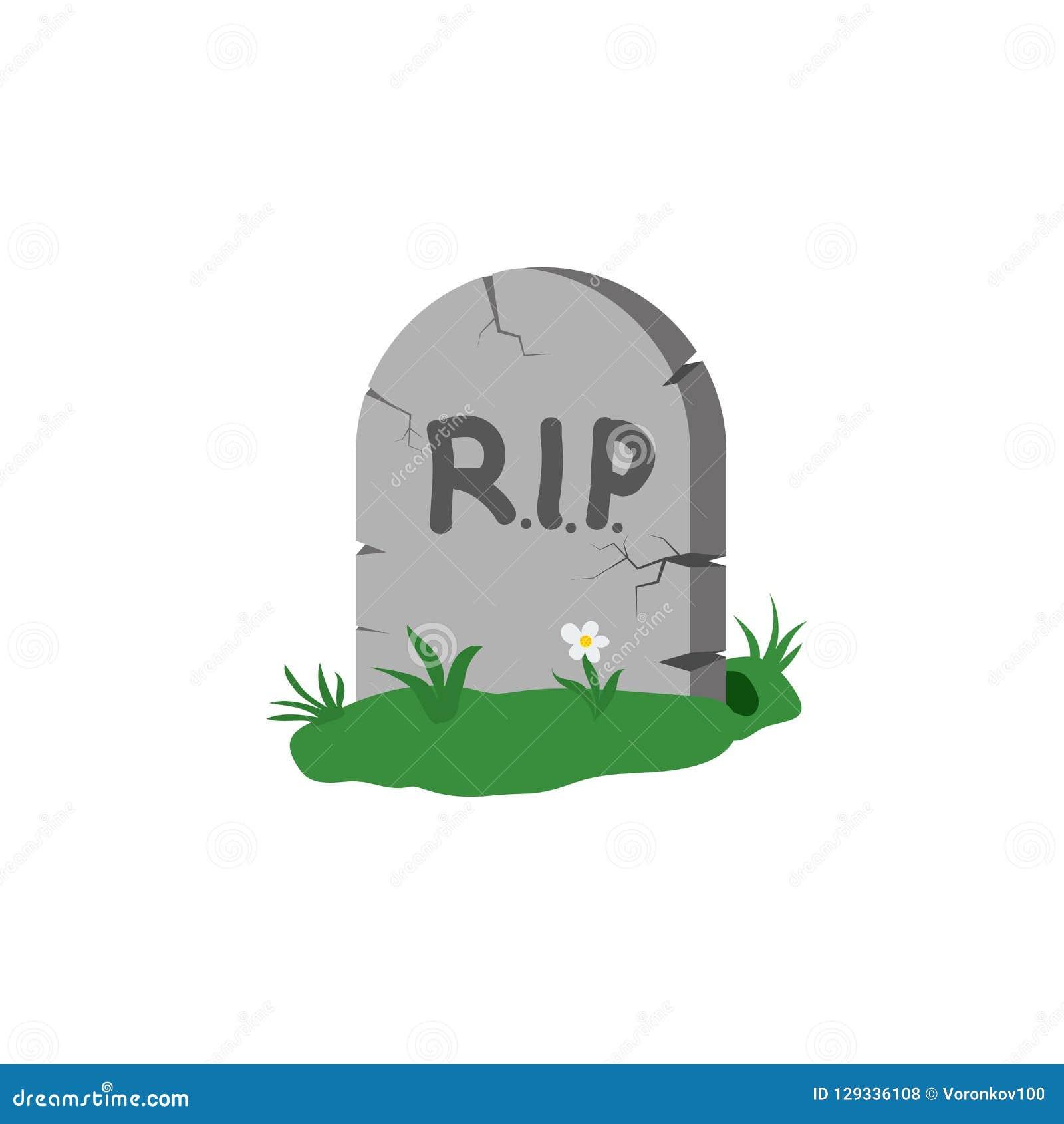 Надгробная плита с травой и цветком с СУЛОЕМ надписи Элемент дизайна изолированный на светлой предпосылке