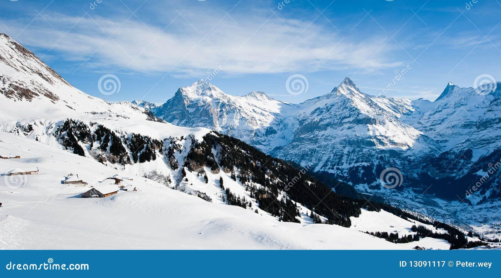 над зимой панорамы grindelwald