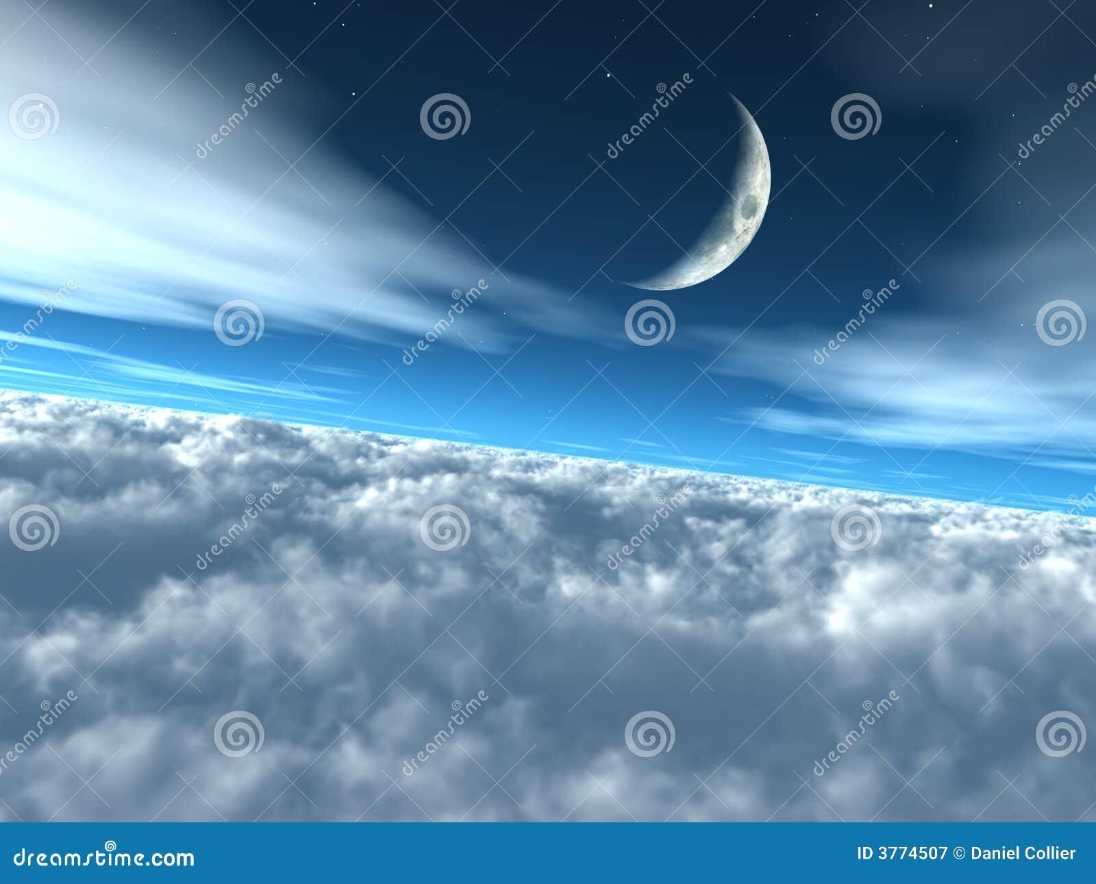 над небом облаков небесный лунным