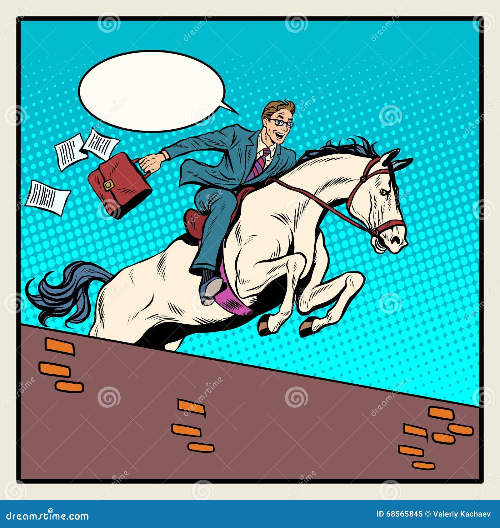 Наездник бизнесмена на лошади скачет над барьером