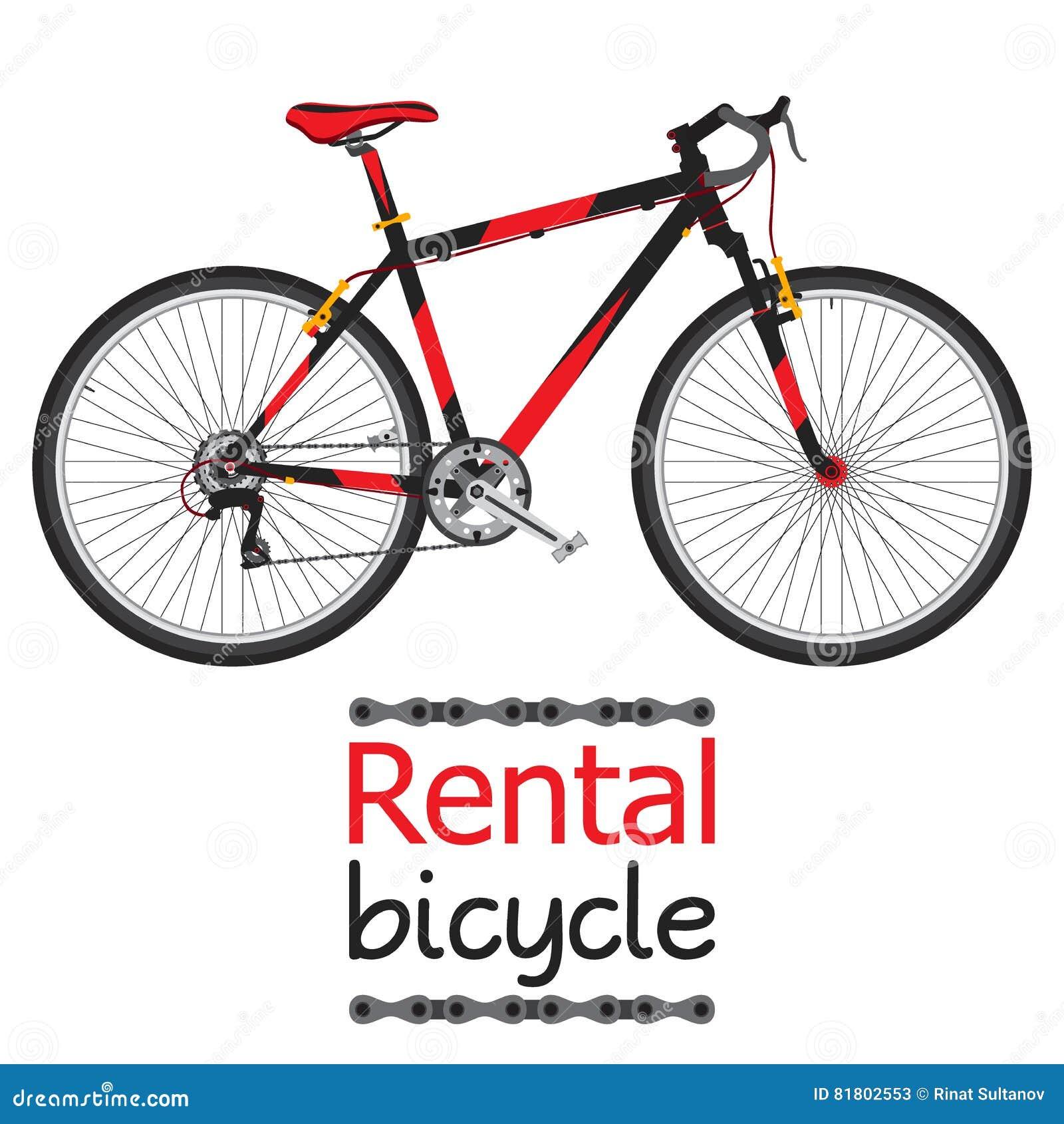 Наем велосипеда города, арендный велосипед для туристов в плоском стиле