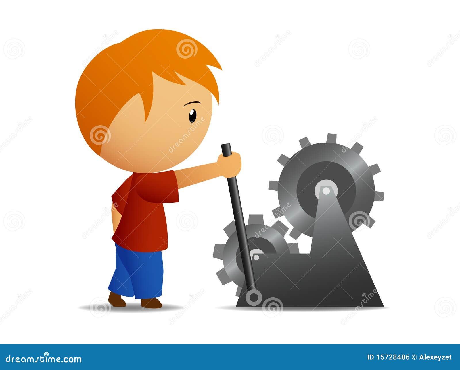 нажим рычага переключения тяги управления мальчика