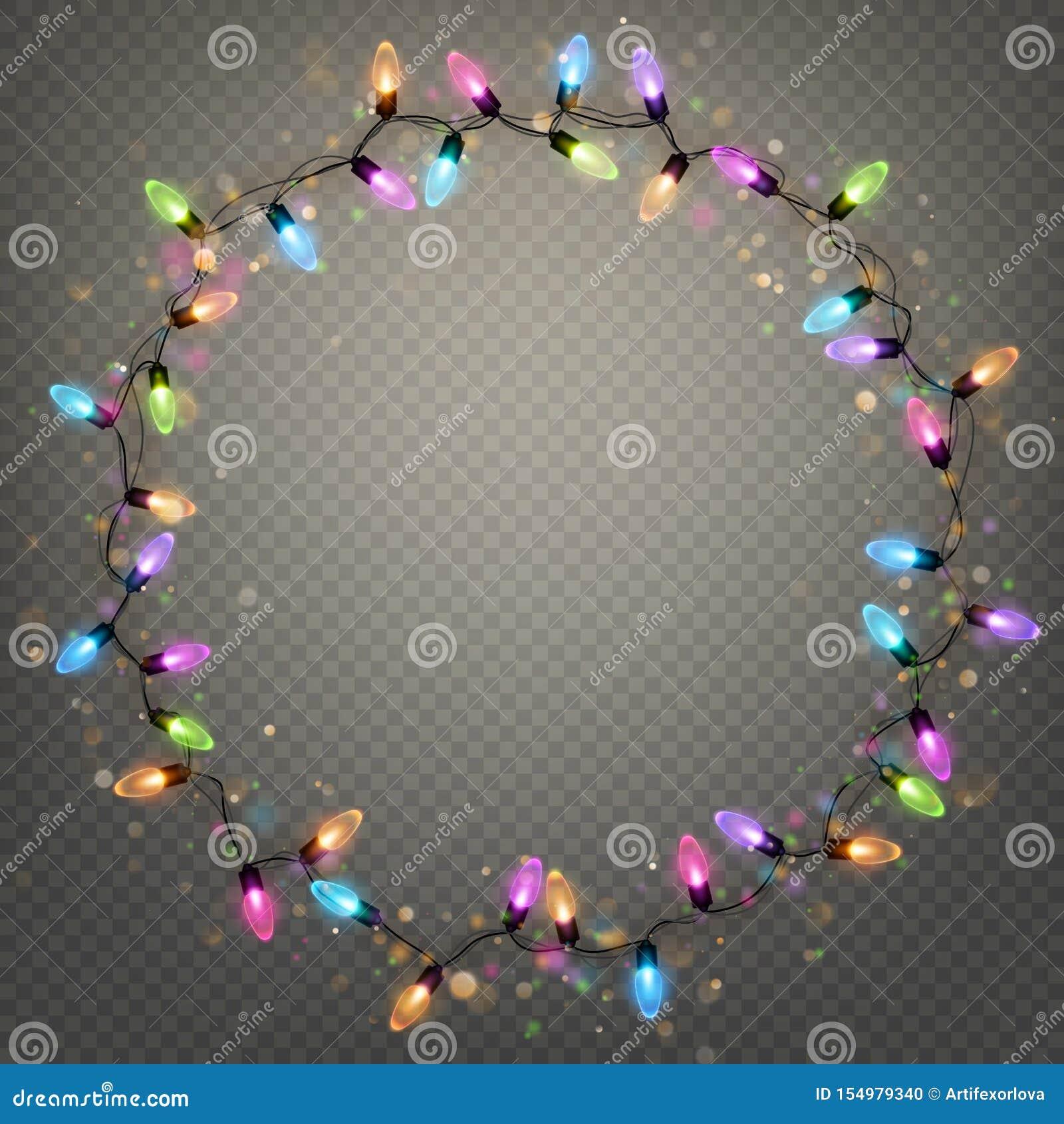 Накаляя кольцо гирлянды рождества освещает изолированный реалистический элемент ламп блеска для дизайна поздравительной открытки