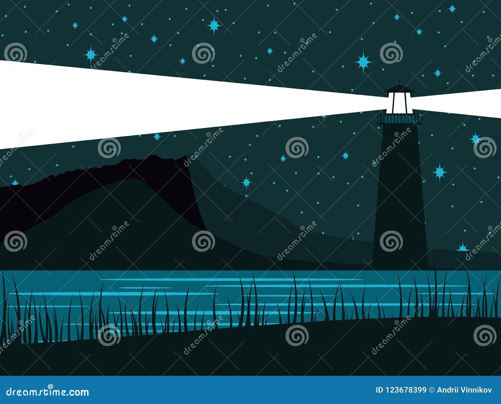 Накаляя маяк на фоне звёздного неба Берег ночи моря вектор