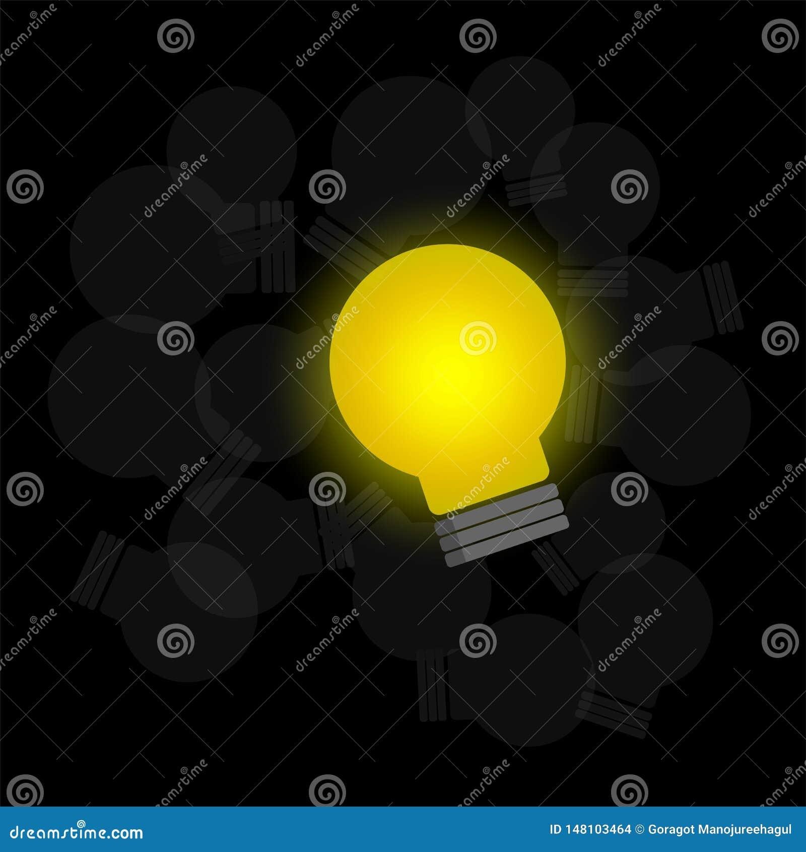 Накаляя электрическая лампочка и темный вектор шариков