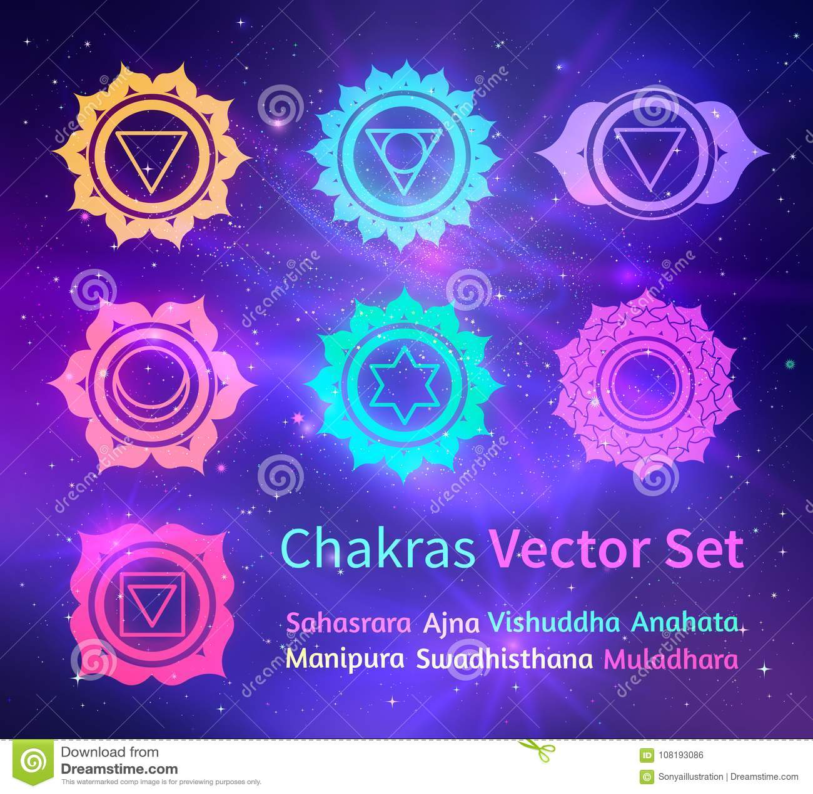 Накаляя chakras на предпосылке космоса