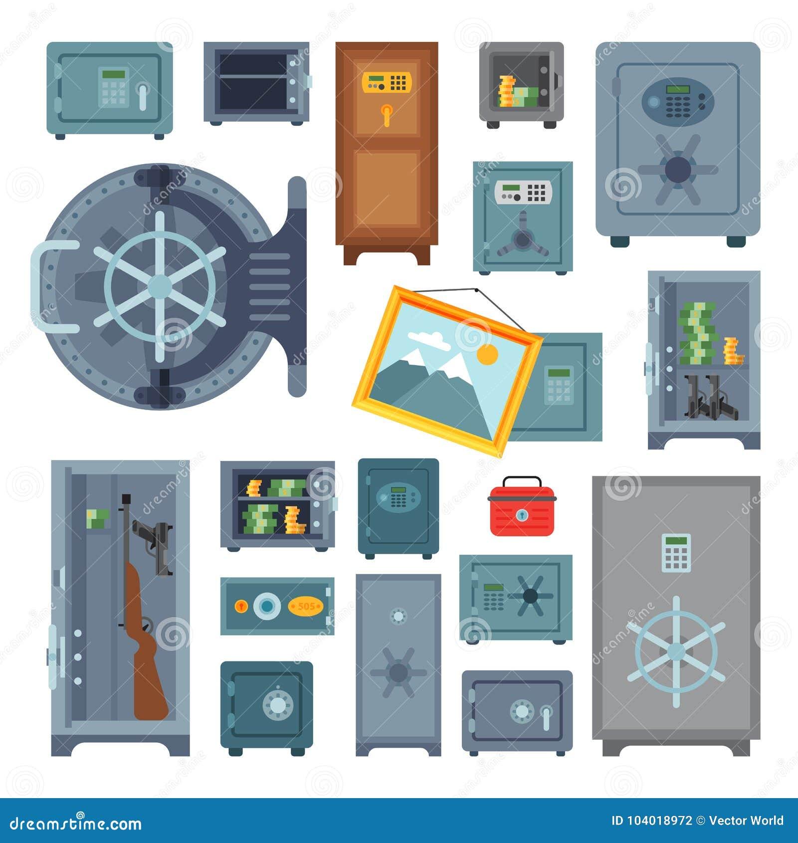 Наличных денег коробки дела безопасности концепции дела финансов двери свода денег вектор депозита предохранения от безопасных ст