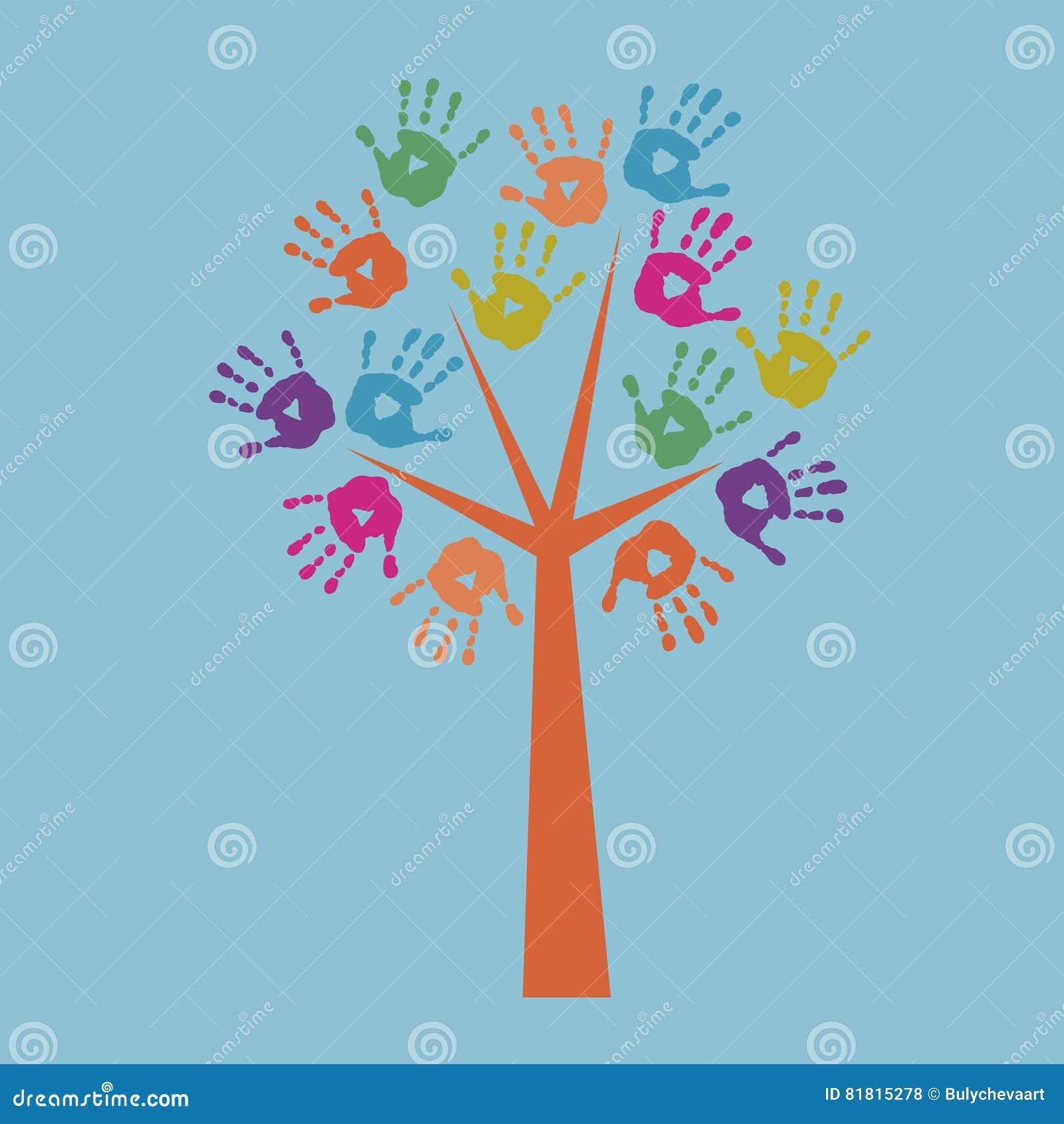 Напечатайте дерево и печати рук ` s детей