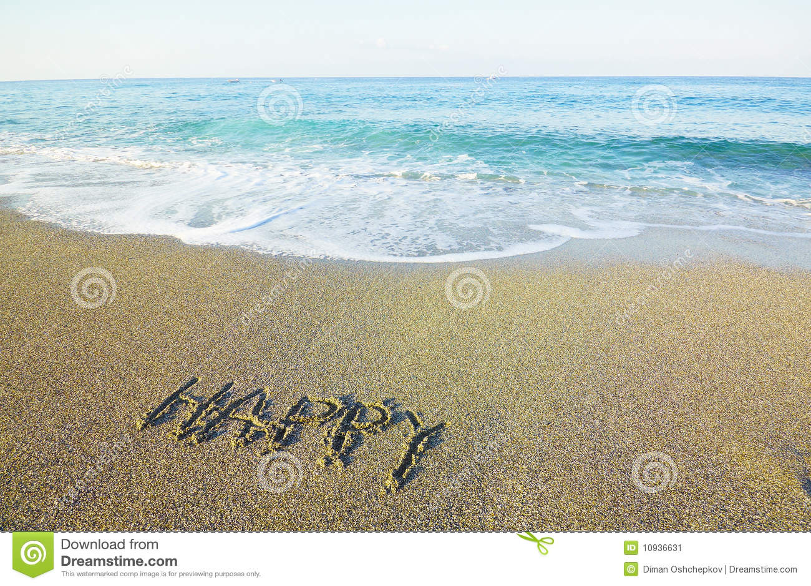 написанное слово песка пляжа счастливое