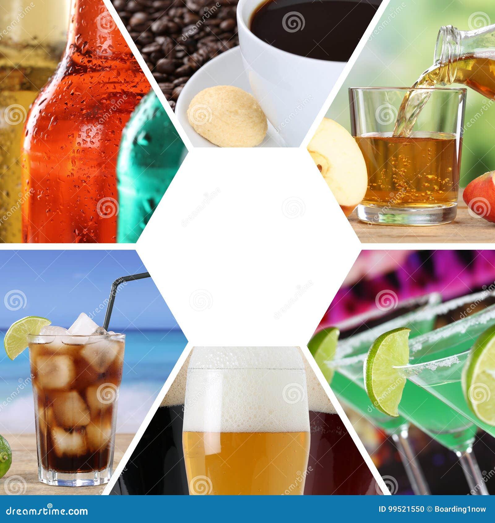 Напитки коллажа собрания меню питья выпивают квадратный ресторан