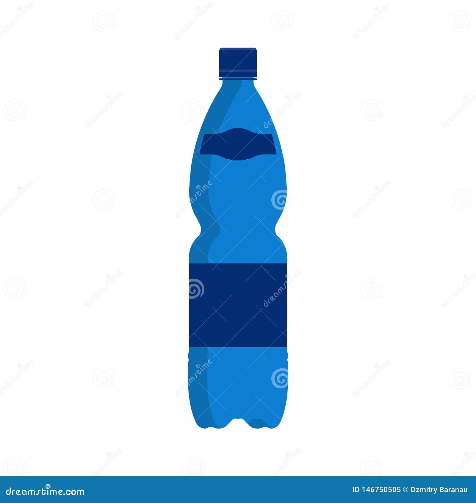 Напиток значка вектора бутылки с водой Изолированный контейнер пластикового голубого напитка жидкостный Минеральная крышка символ