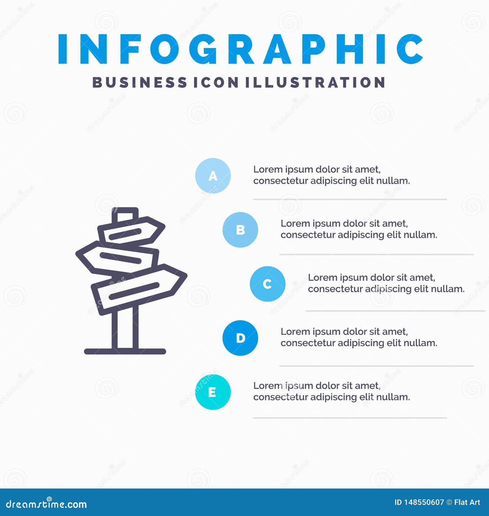 Направление, гостиница, мотель, шаги шаблона 5 Infographics комнаты голубые Линия шаблон вектора значка