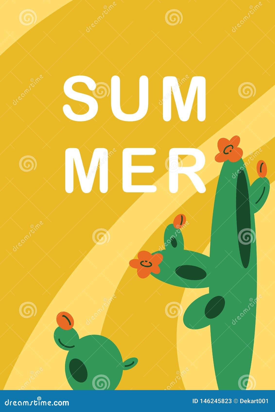 Нарисованная вручную предпосылка иллюстрации с мексиканскими кактусами в плоском стиле мультфильма