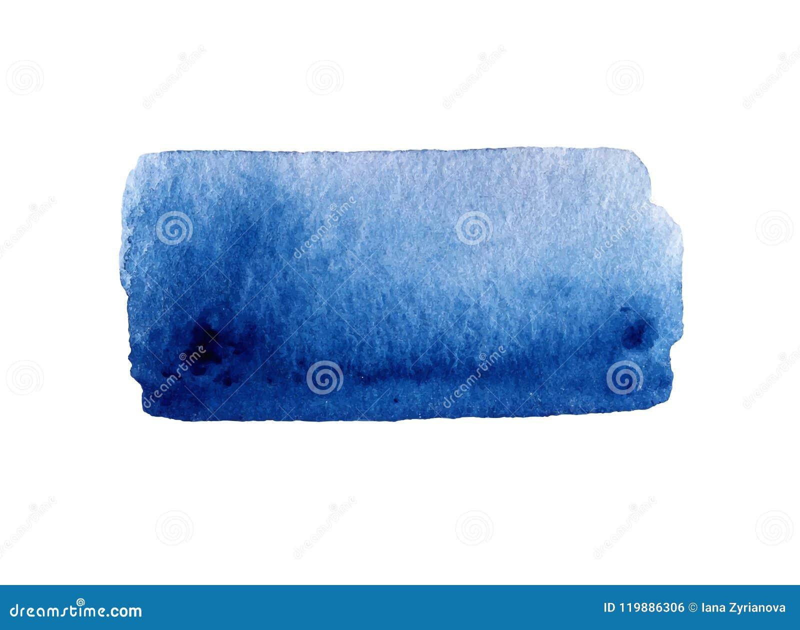 Нарисованная рука акварели голубая изолировала пятно на белой предпосылке Намочите иллюстрацию вектора щетки покрашенную ходом аб