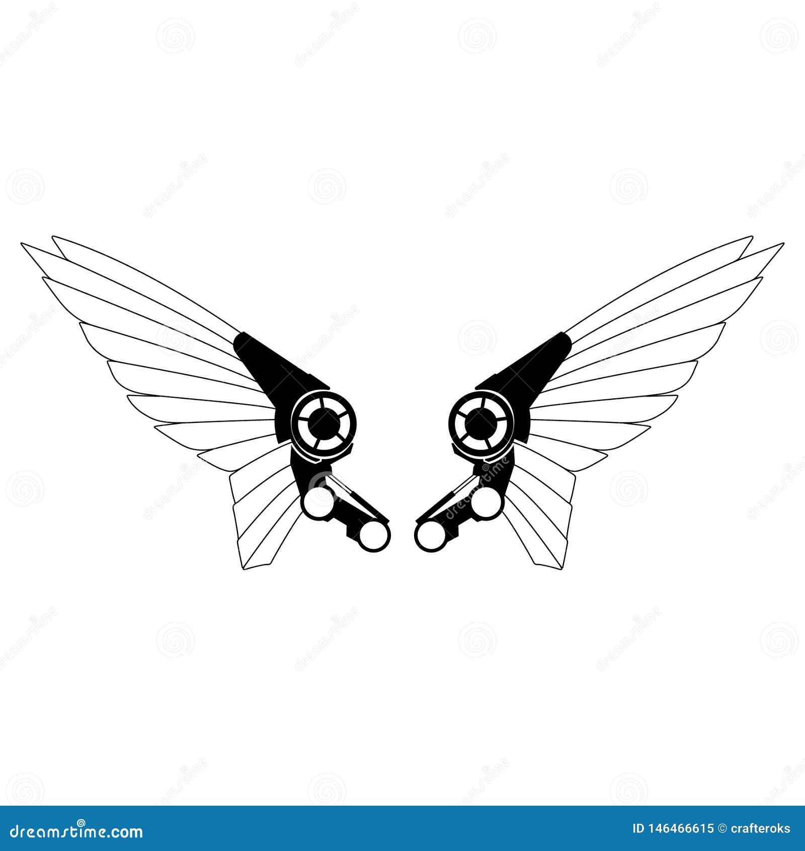 Нарисованная рука, вектор eps вектора крыльев робота, Eps, логотип, значок, crafteroks, иллюстрация силуэта для различных польз