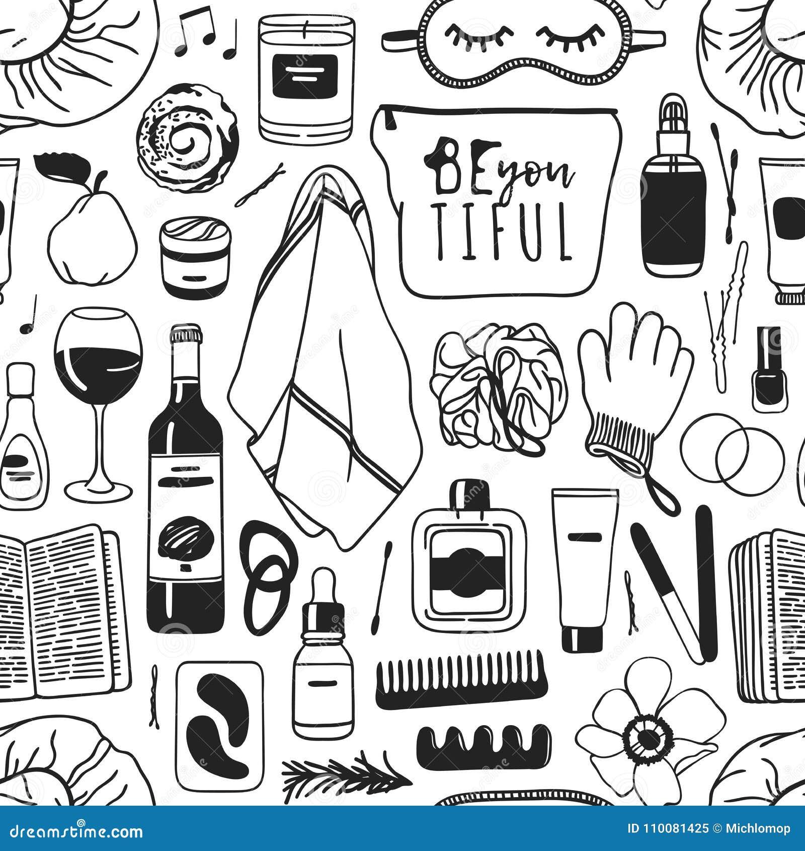 Нарисованная рука ослабляет безшовную картину Фактическая предпосылка с продуктами красоты, вино чертежа вектора, еда, книга