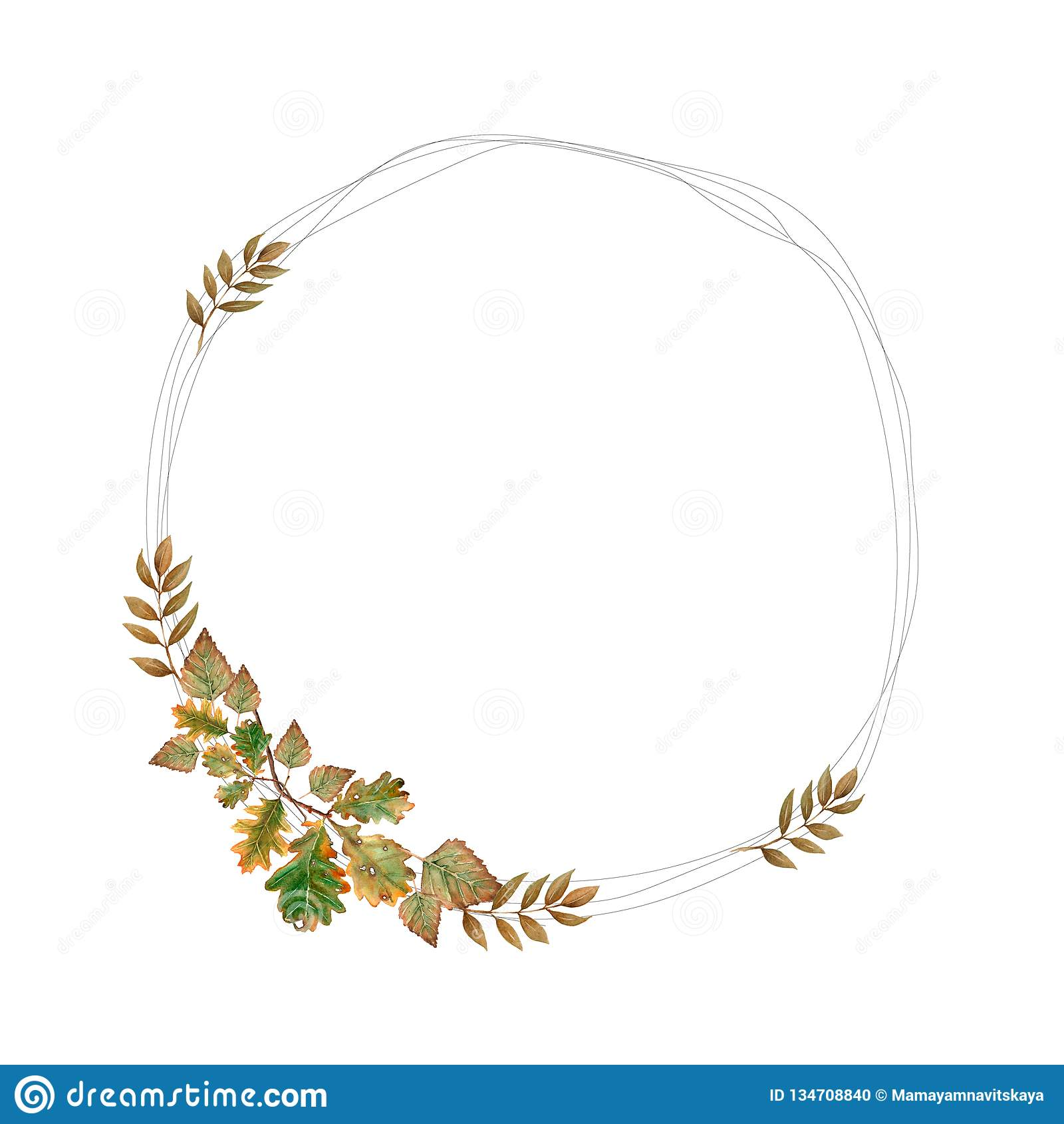 Нарисованная рукой иллюстрация акварели Ботанический венок зеленых и желтых ветвей и листьев Настроение весны и осени флористичес
