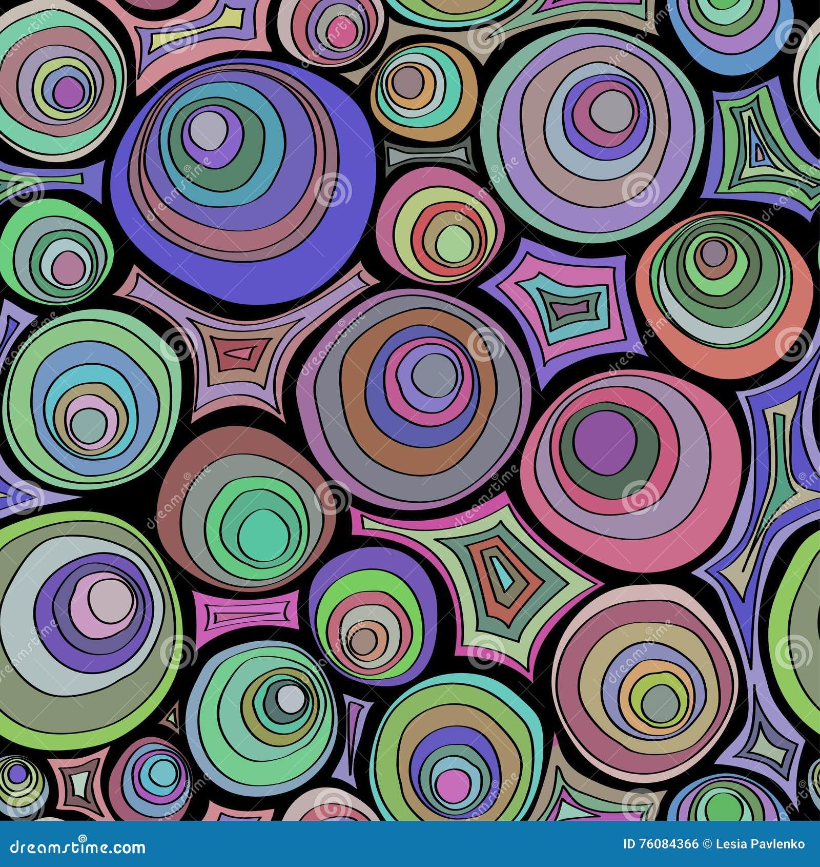 Нарисованная рукой картина doodle безшовная с орнаментом кругов Шальная цветовая палитра Психоделические концентрические круги