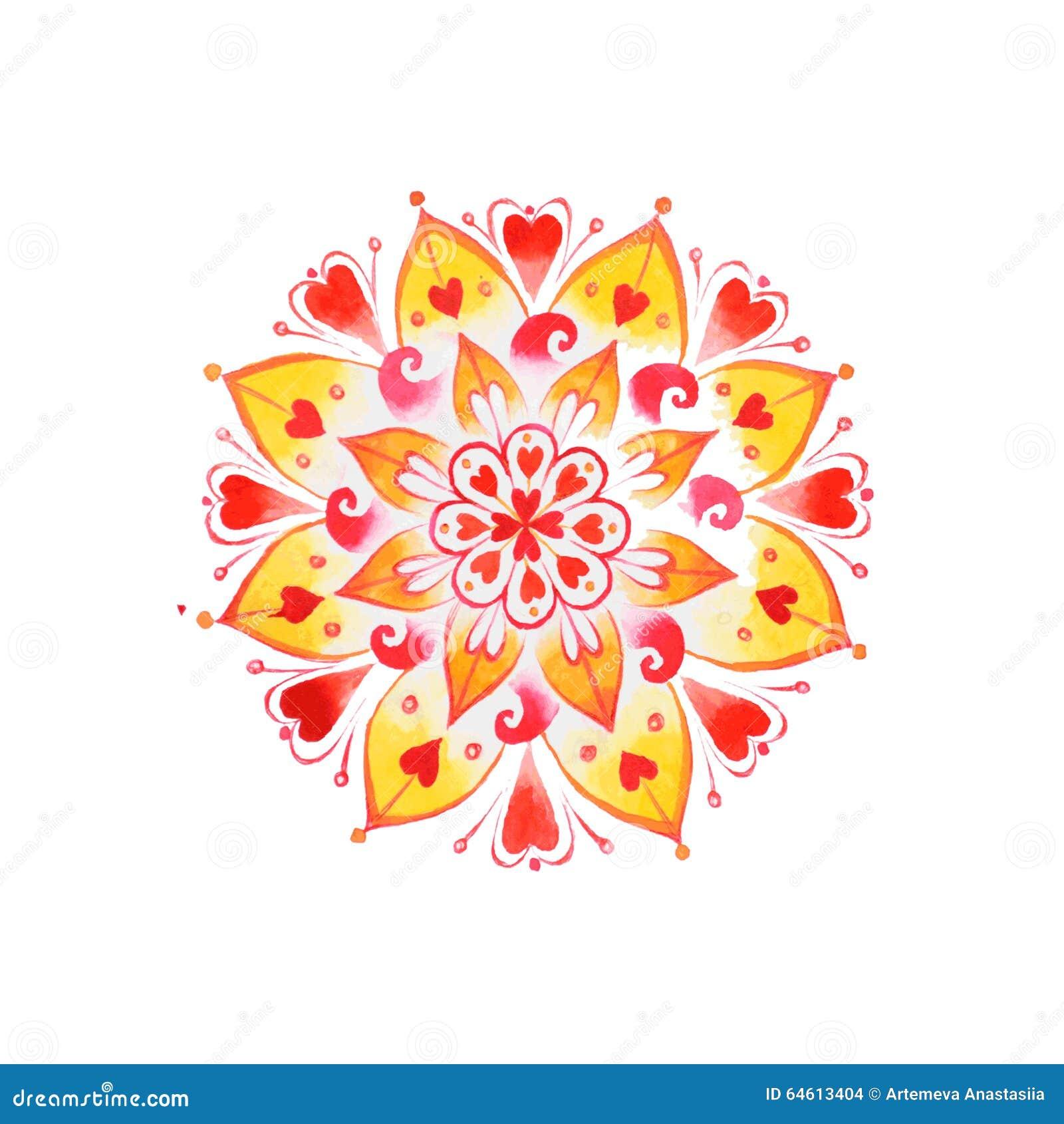 Нарисованная рукой мандала влюбленности сердца