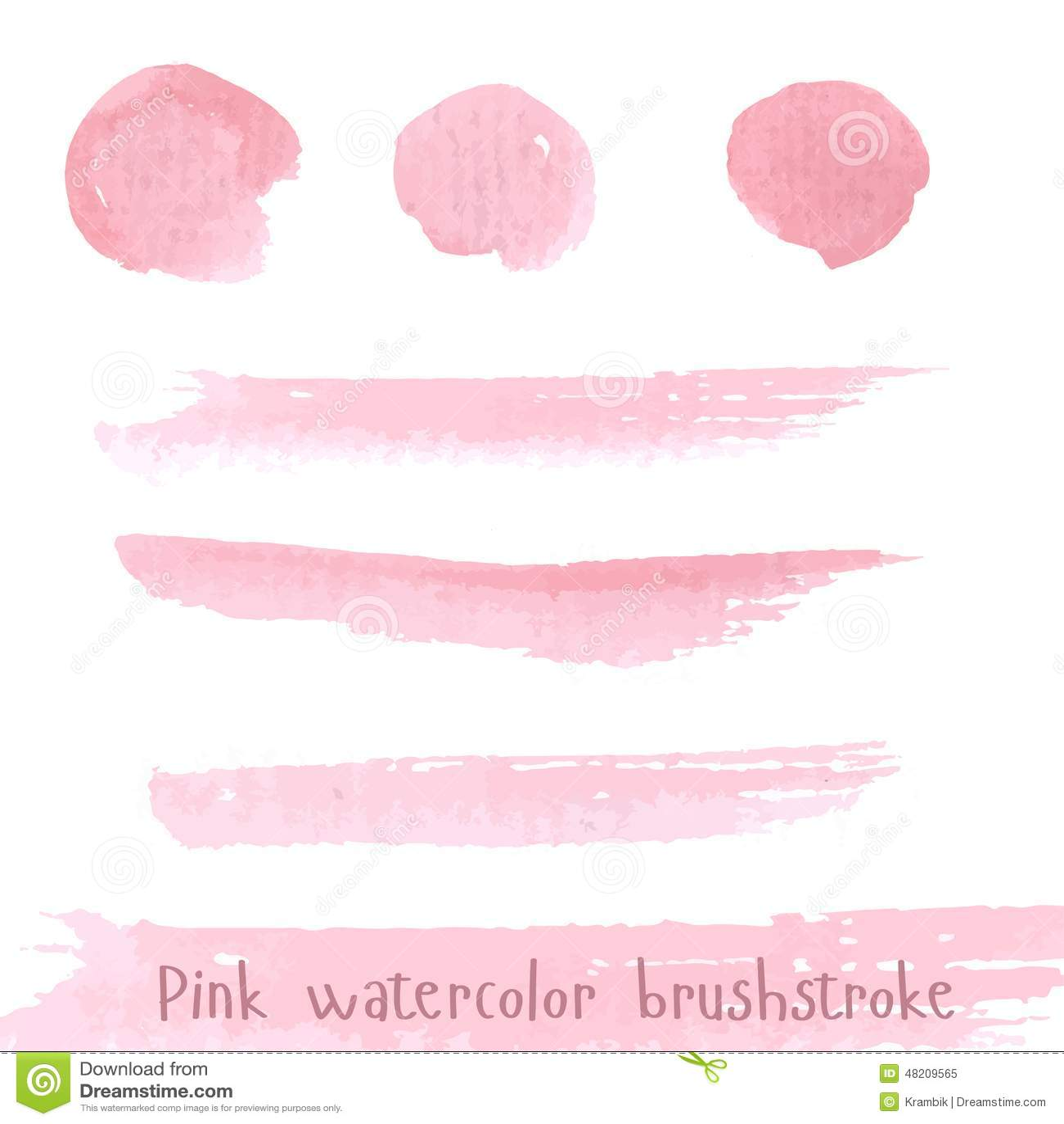 Нарисованная рукой розовая акварель brushstroke краски