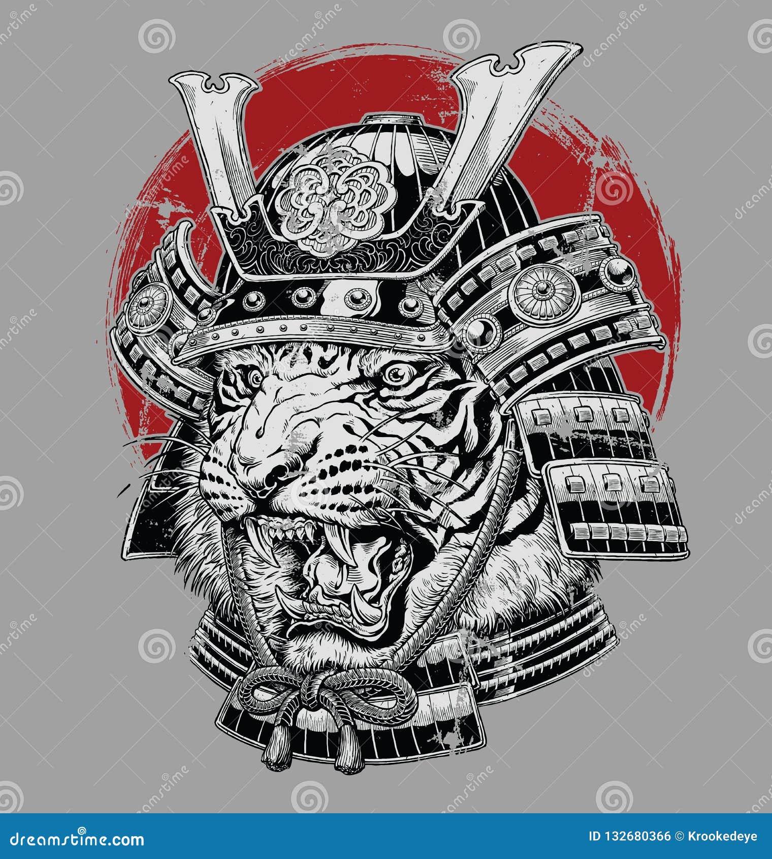 Нарисованная рукой сильно детальная японская иллюстрация вектора самурая тигра на серой земле