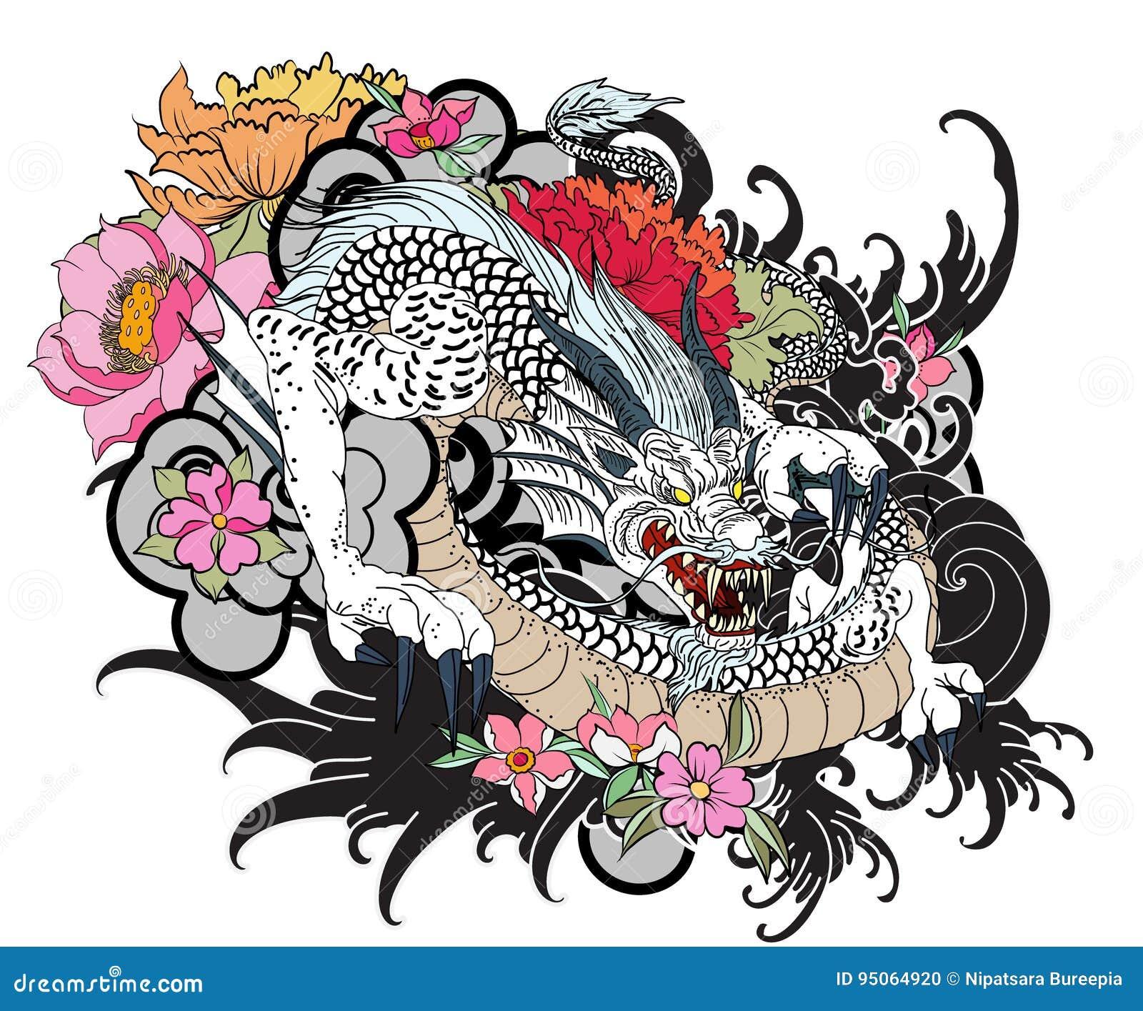 нарисованная рукой татуировка дракона стиль книжка