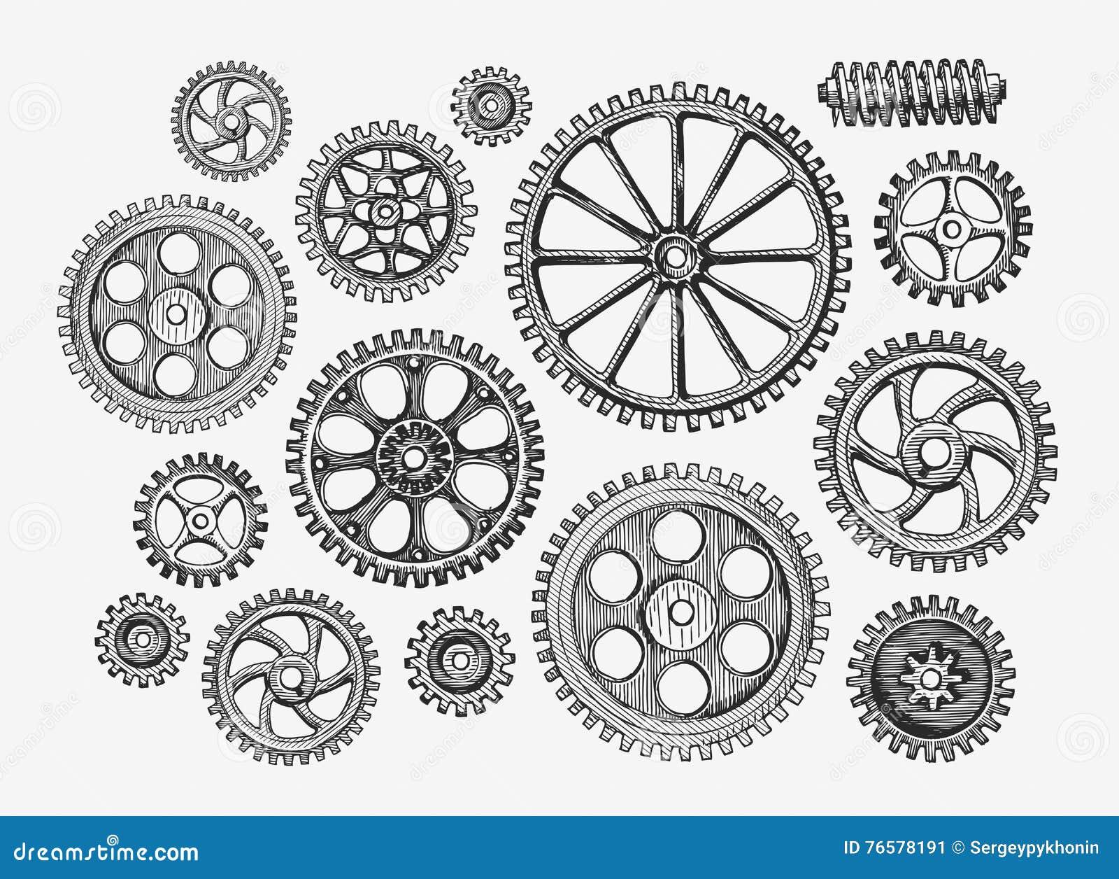 Нарисованные вручную винтажные шестерни, cogwheel Механизм эскиза, индустрия также вектор иллюстрации притяжки corel