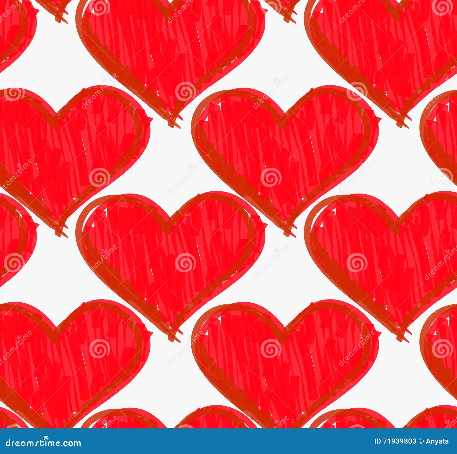 Нарисованные отметкой сердца насиженные красным цветом