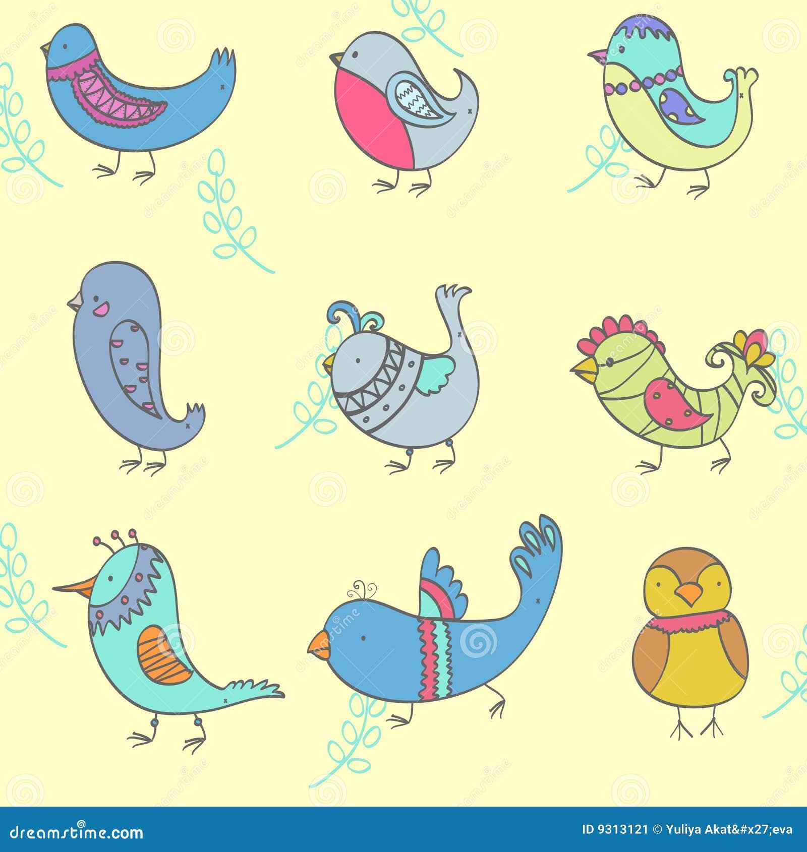 нарисованные птицы картинки