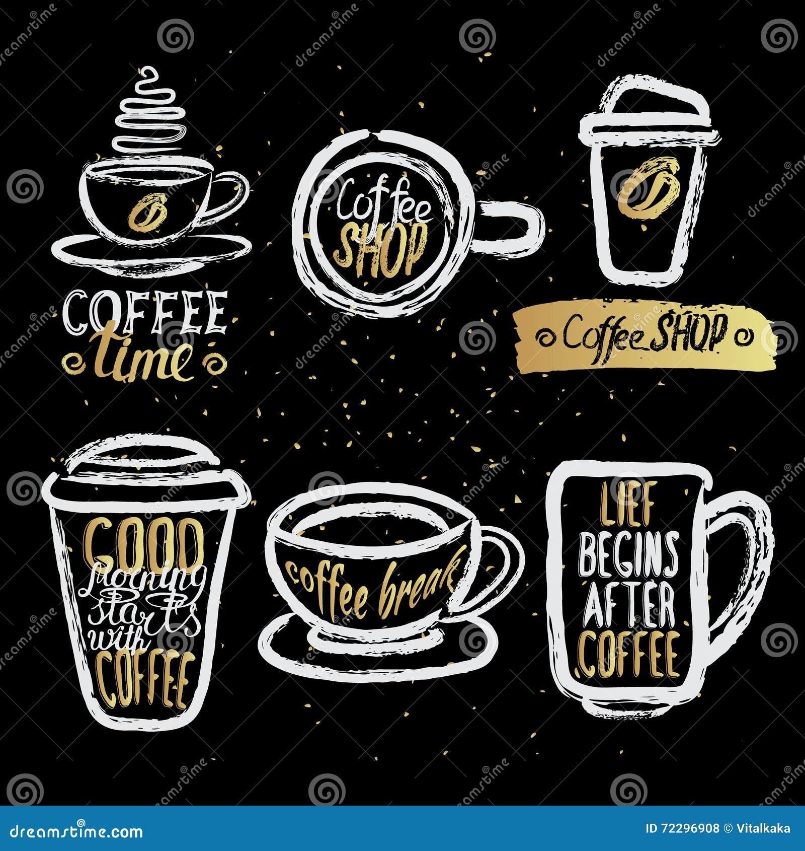 Download Нарисованные рукой кофейные чашки с литерностью Иллюстрация вектора - иллюстрации насчитывающей breadcrumbs, влюбленность: 72296908