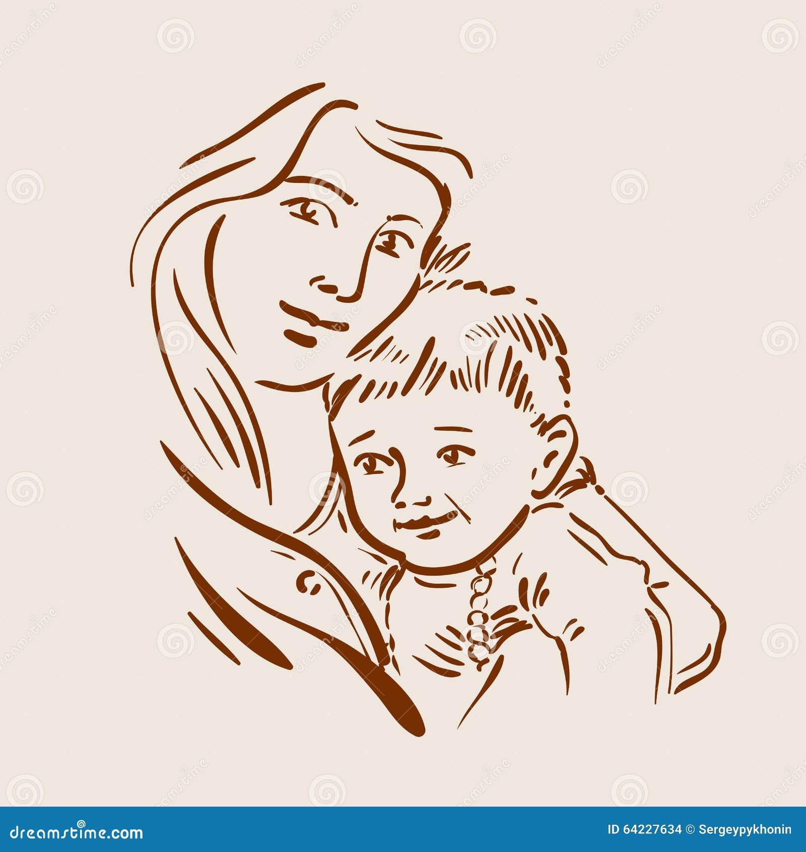 нарисованные картинки мама и малыш