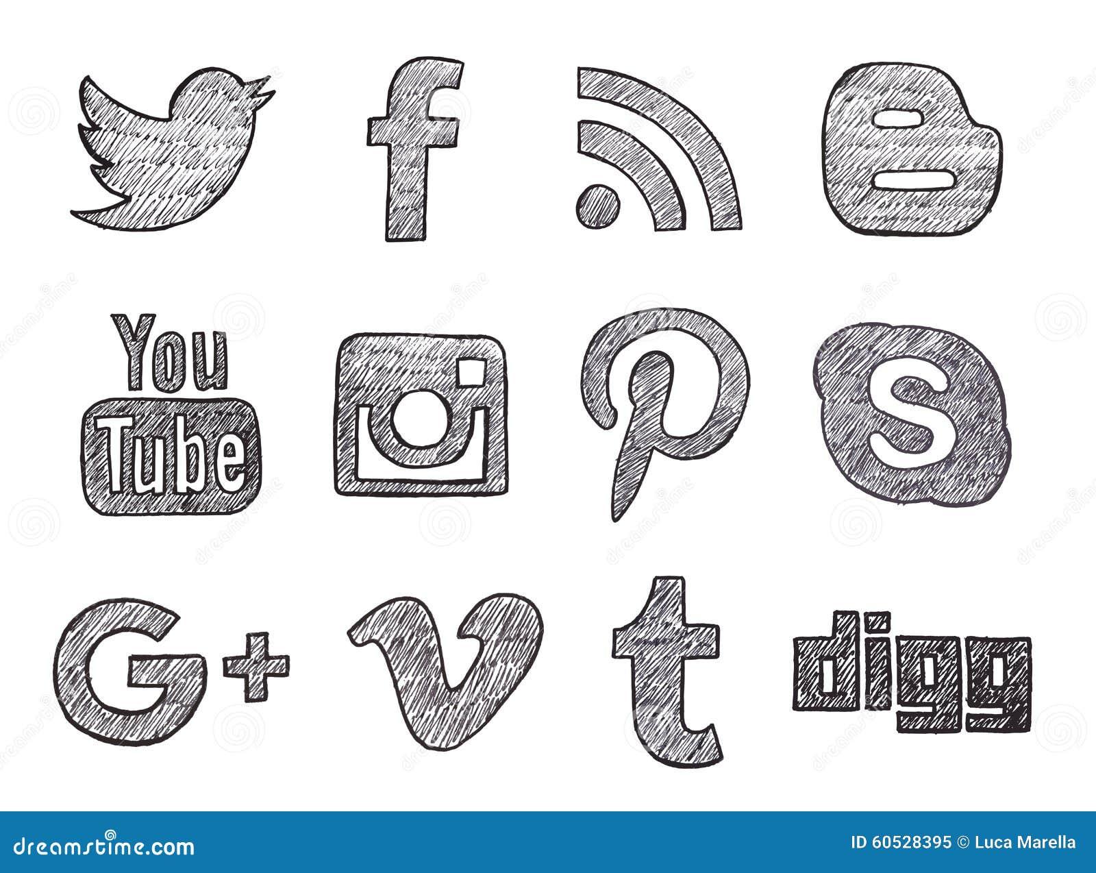 Нарисованные рукой социальные кнопки средств массовой информации