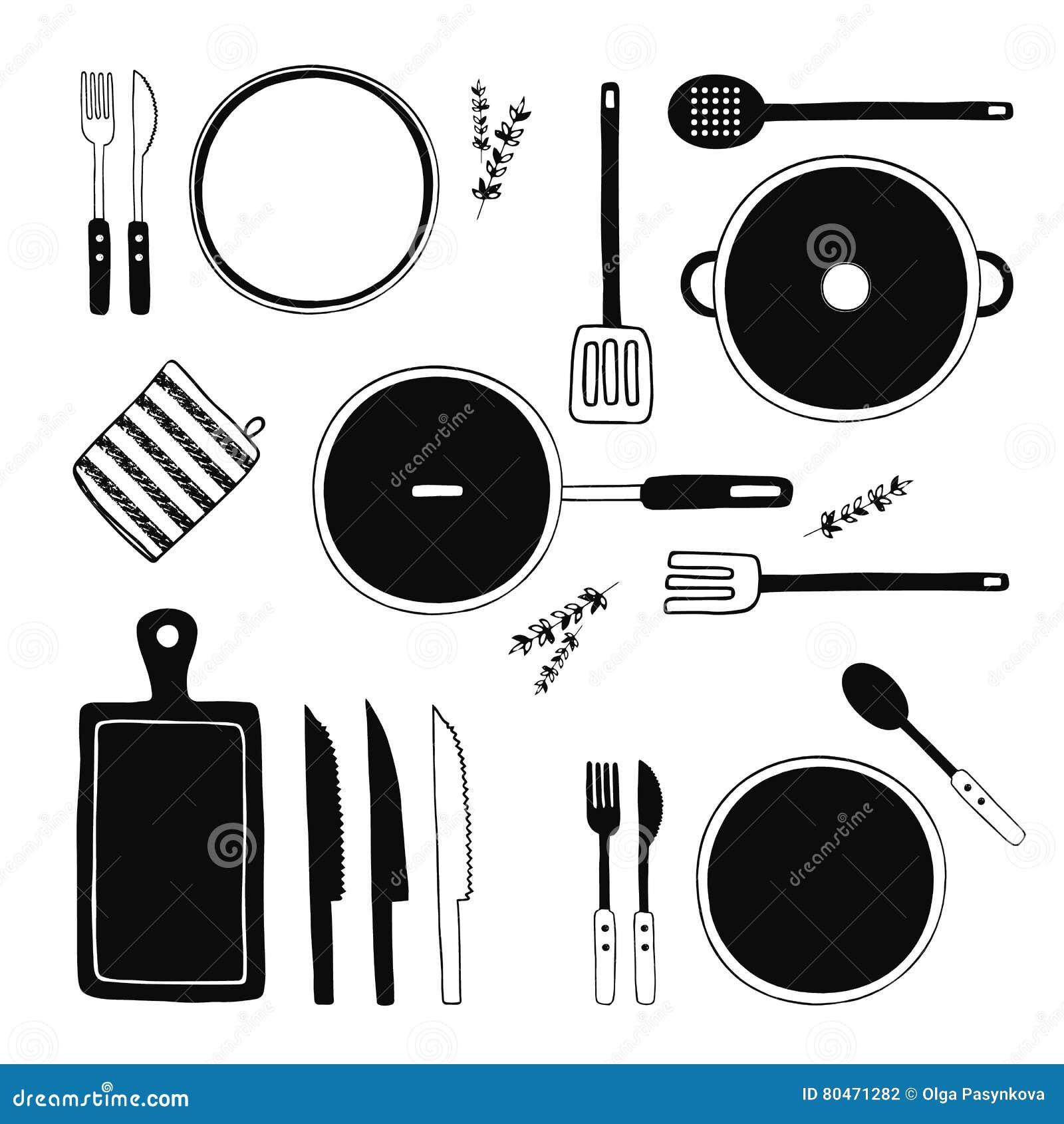 Нарисованные рукой установленные утвари кухни Кухня оборудует собрание Варить оборудование, kitchenware, tableware, блюда
