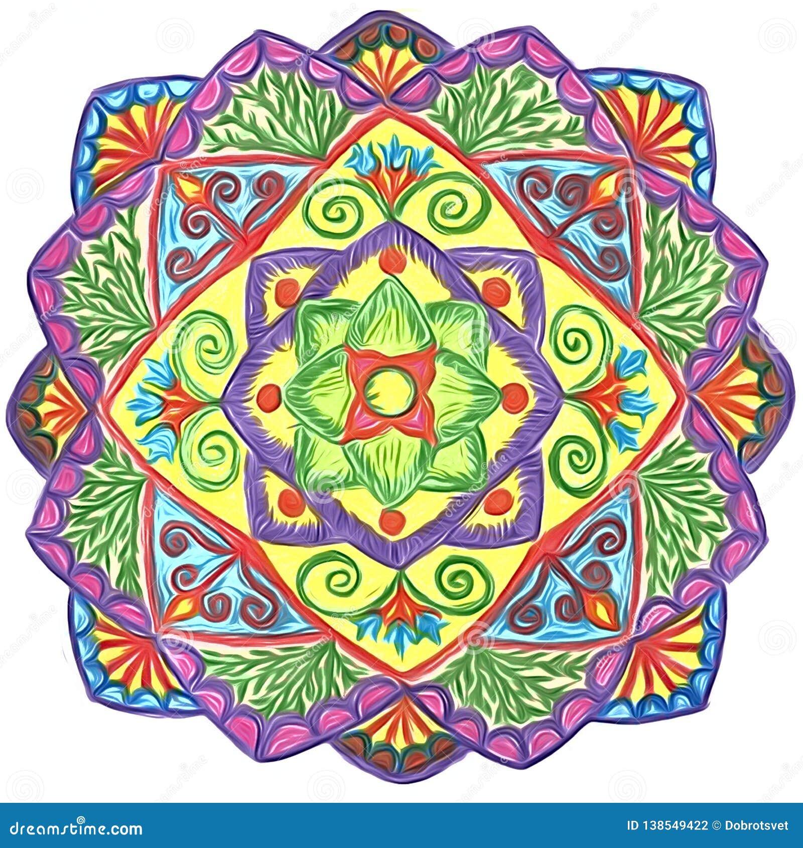 Нарисованный вручную круговой орнамент - мандала с флористическими элементами