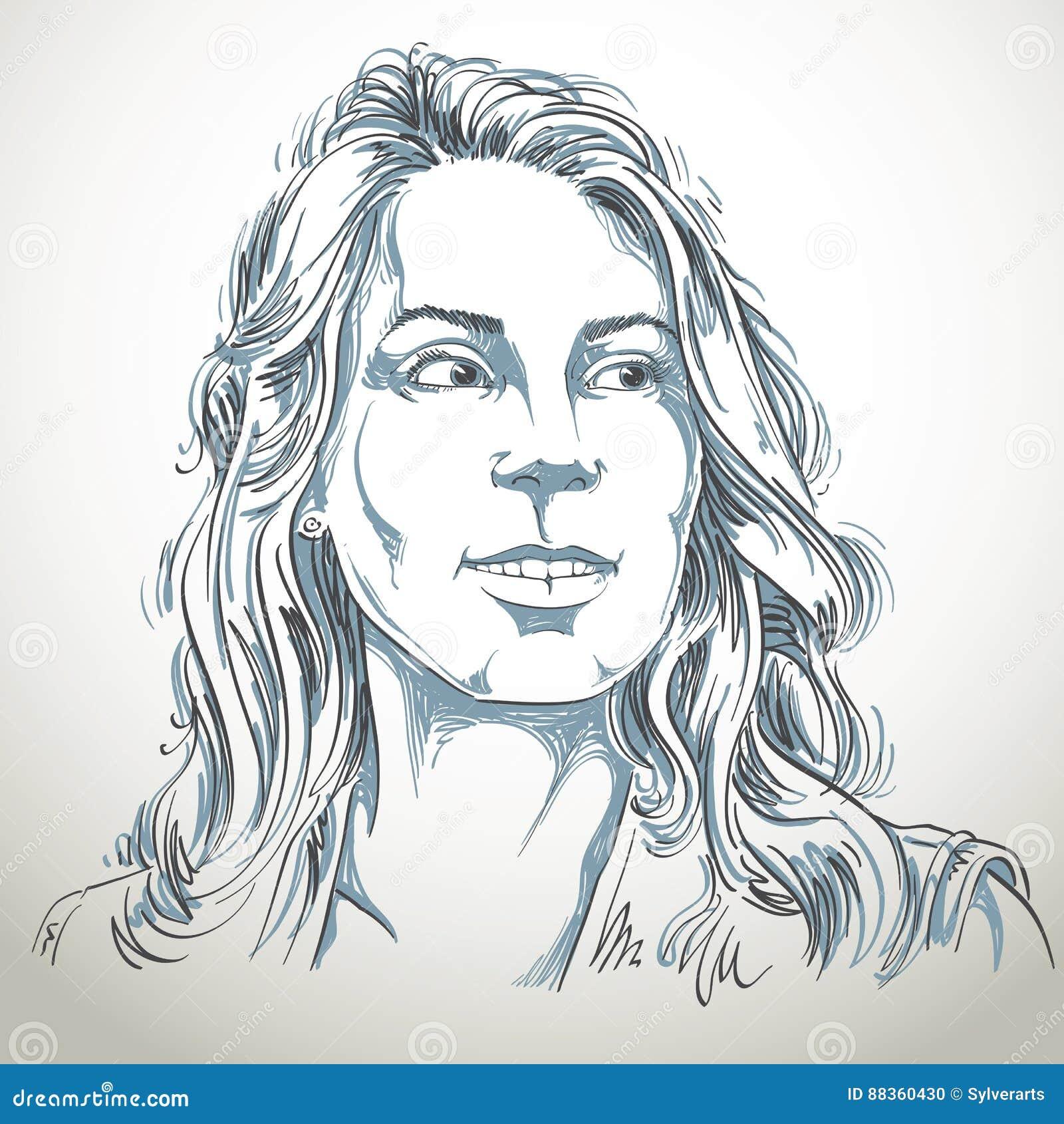Нарисованный вручную портрет женщины бело-кожи, беды темы эмоций стороны