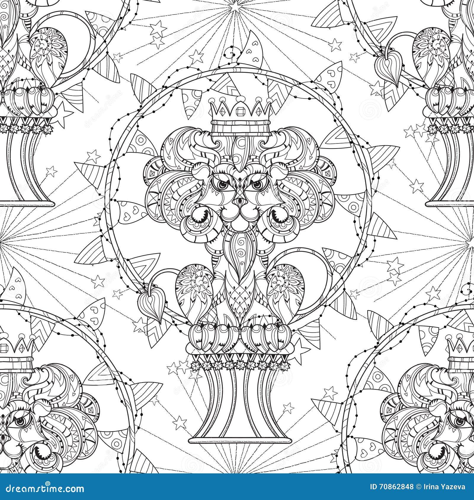 Нарисованный рукой лев плана doodle в цирке
