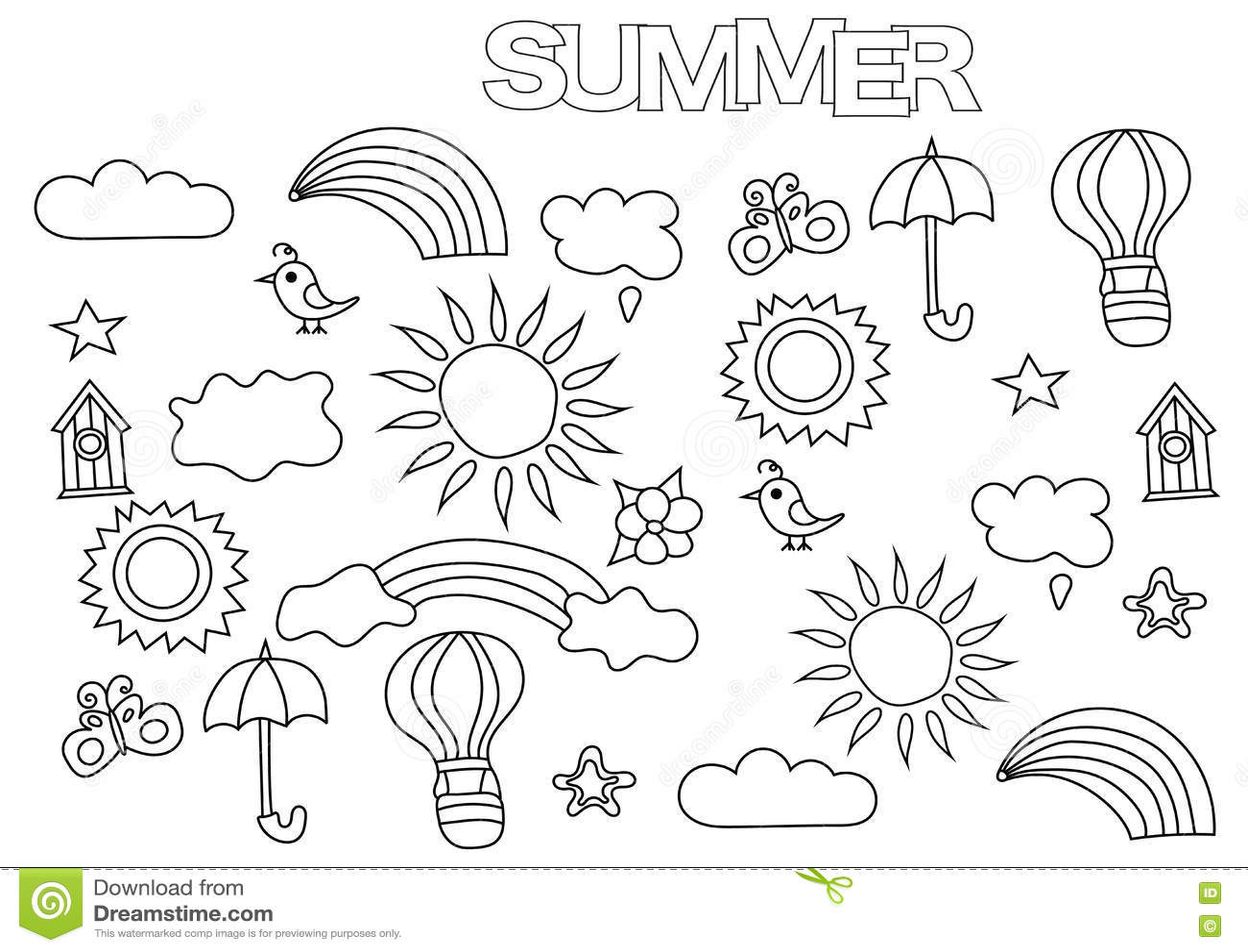 нарисованный рукой комплект погоды лета шаблон страницы