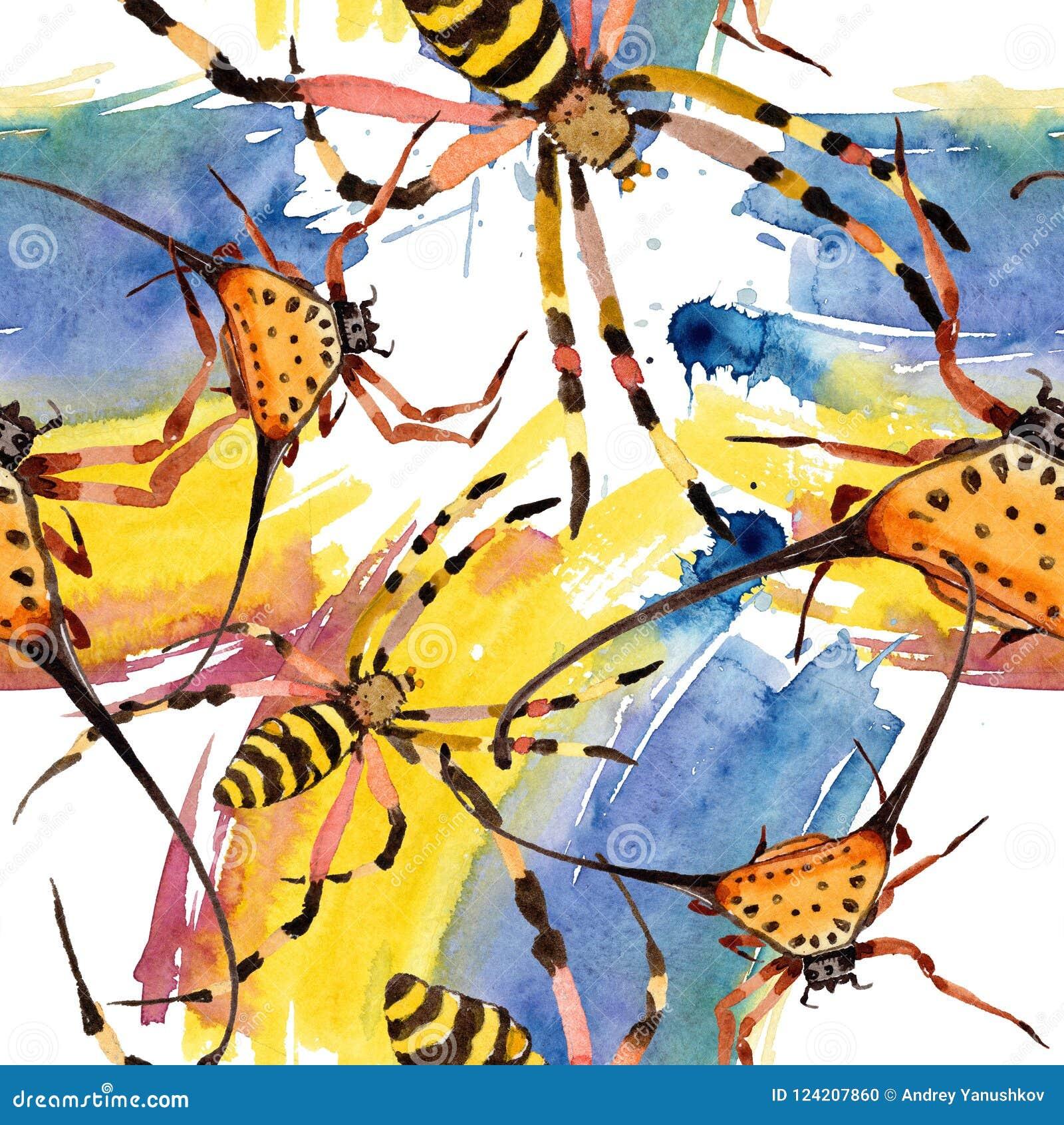 Насекомое экзотических пауков одичалое в стиле акварели Безшовная картина предпосылки