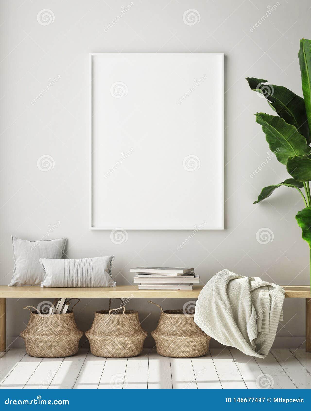 Насмешливая поднимающая вверх рамка плаката в современной внутренней предпосылке, комнате прожития, скандинавском стиле, 3D предс