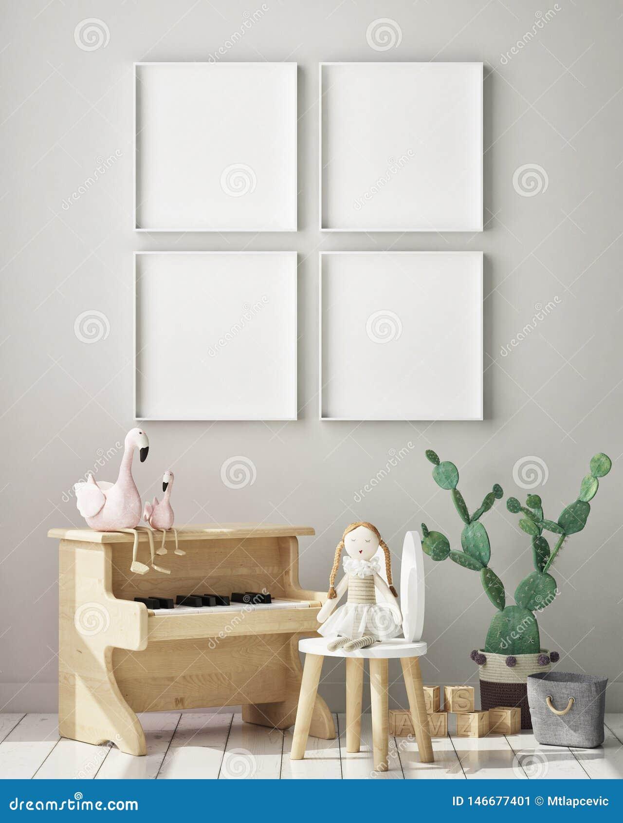 Насмешливая поднимающая вверх рамка плаката в спальне детей, предпосылке скандинавского стиля внутренней, 3D представляет, иллюст