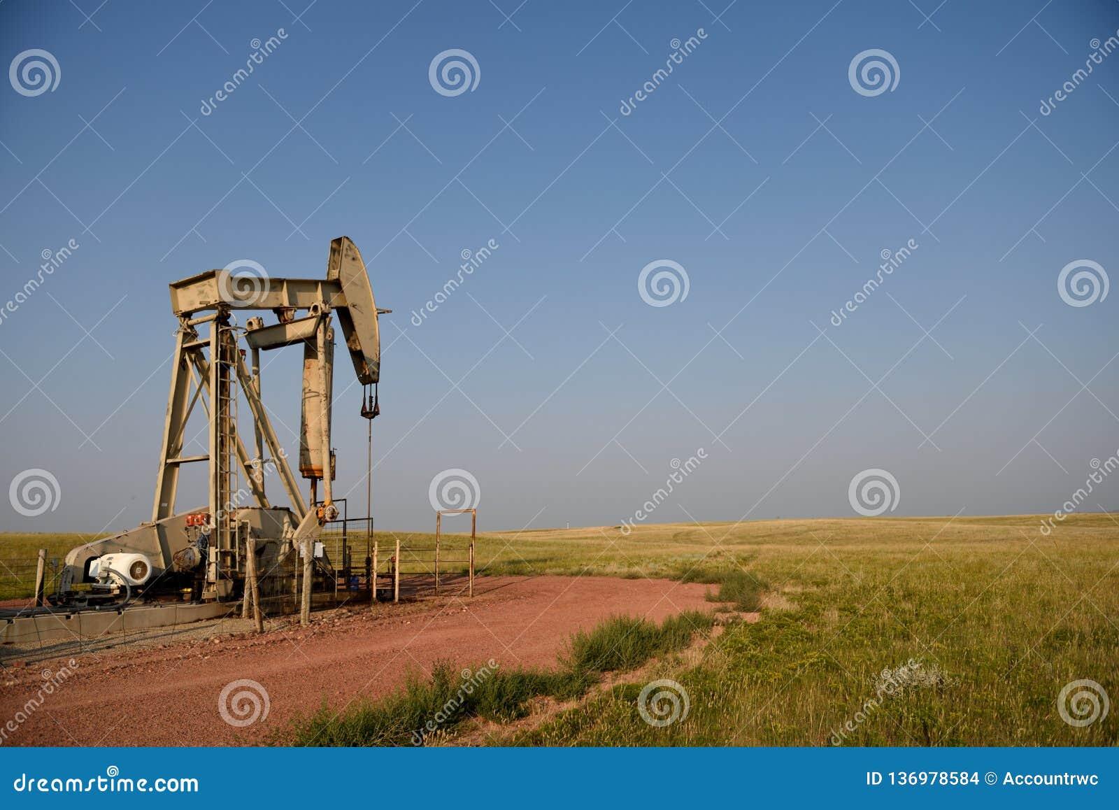 Насос сырой нефти поднимает домкратом в речном бассейне порошка