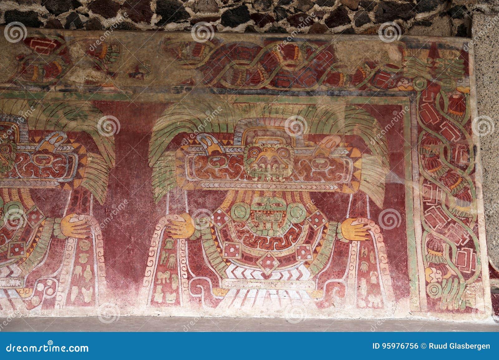 Настенные живописи на пирамидах Teotihuacan, Мексики