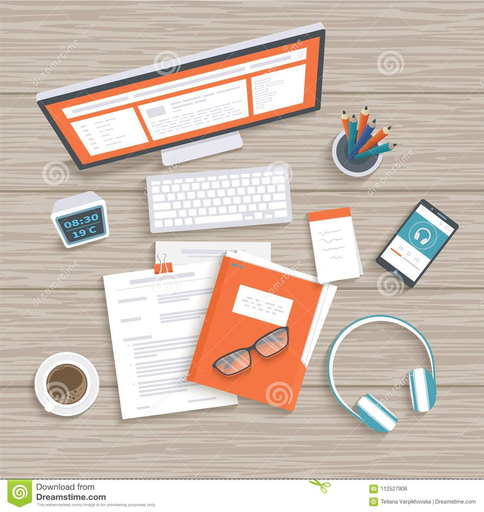 Настольный компьютер с монитором, клавиатурой, документами, папкой, наушниками, телефоном Деревянный взгляд сверху таблицы Предпо