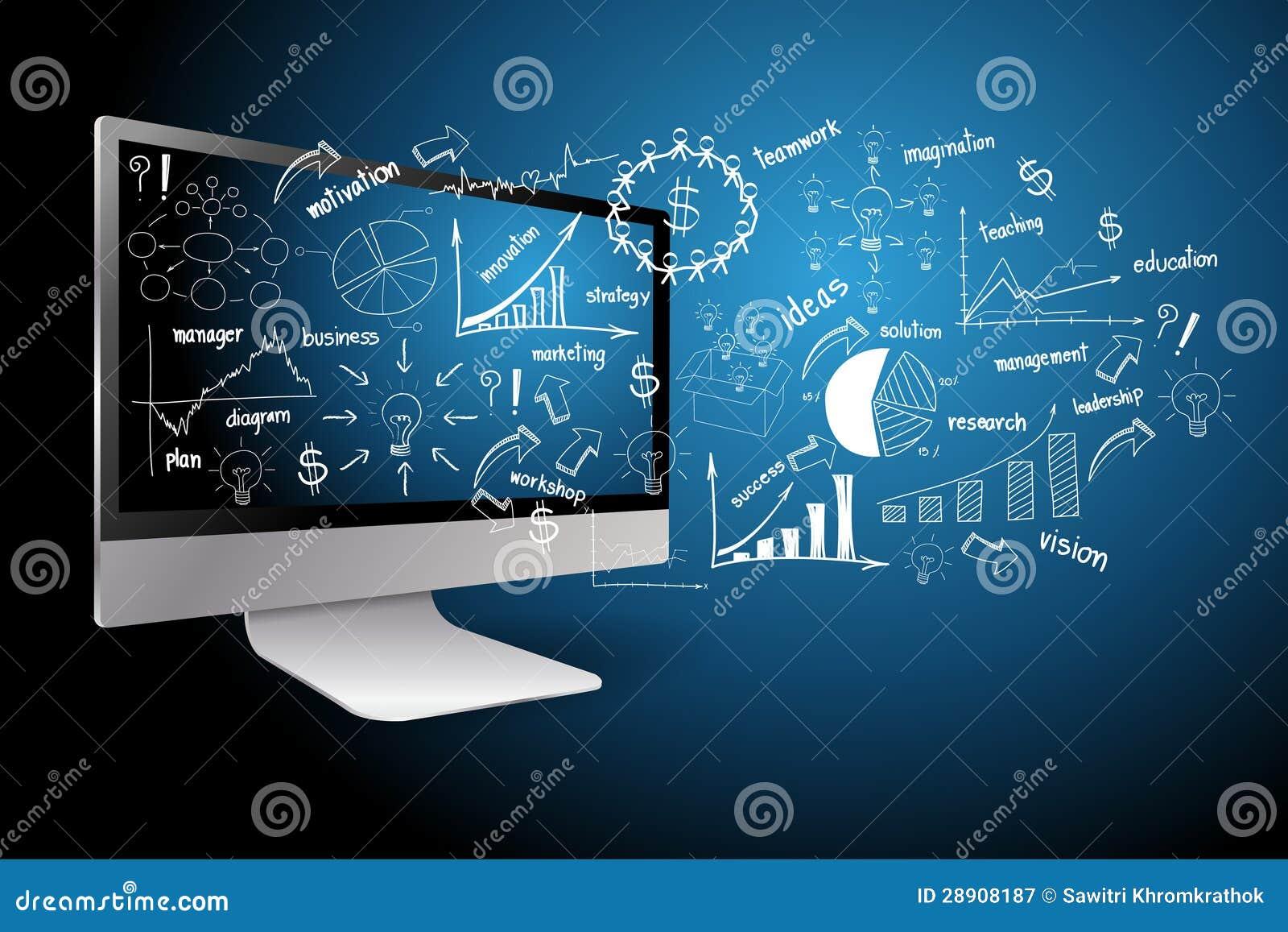 настольный компьютер с принципиальной схемой бизнеса-плана чертежа