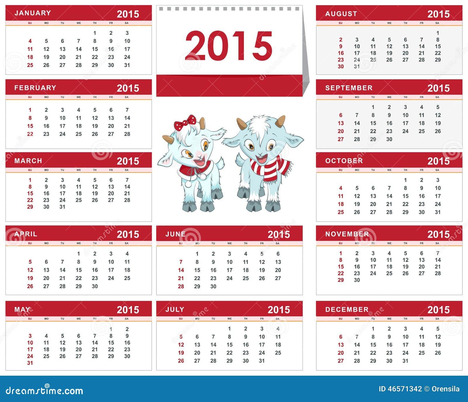 Шаблон календаря на 2015 год.  Веселые козлята, иллюстрация 6638434 (c) Алексей Григорьев / Фотобанк Лори.