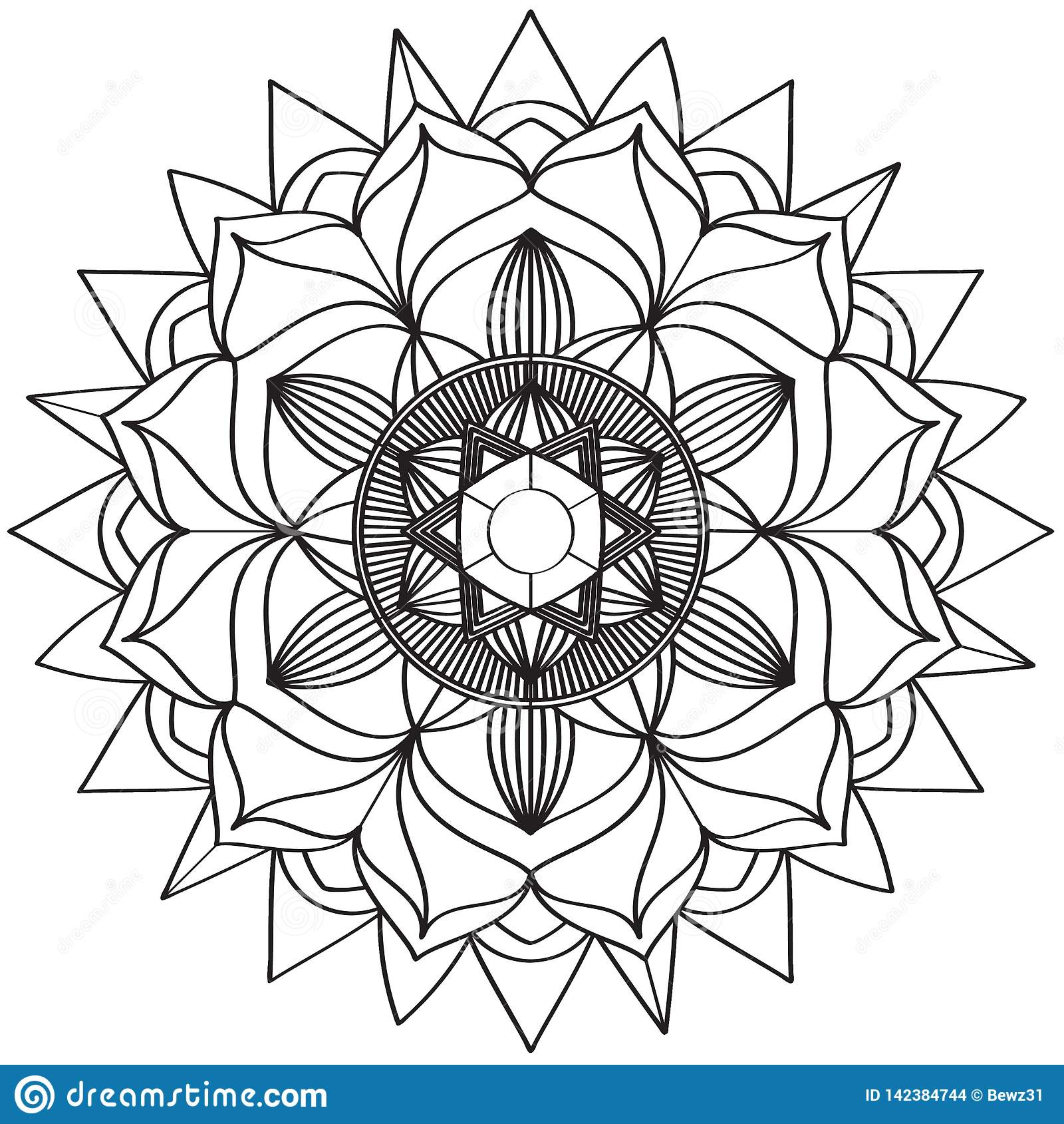 Настроение сложных картин мандалы черно-белое хорошее