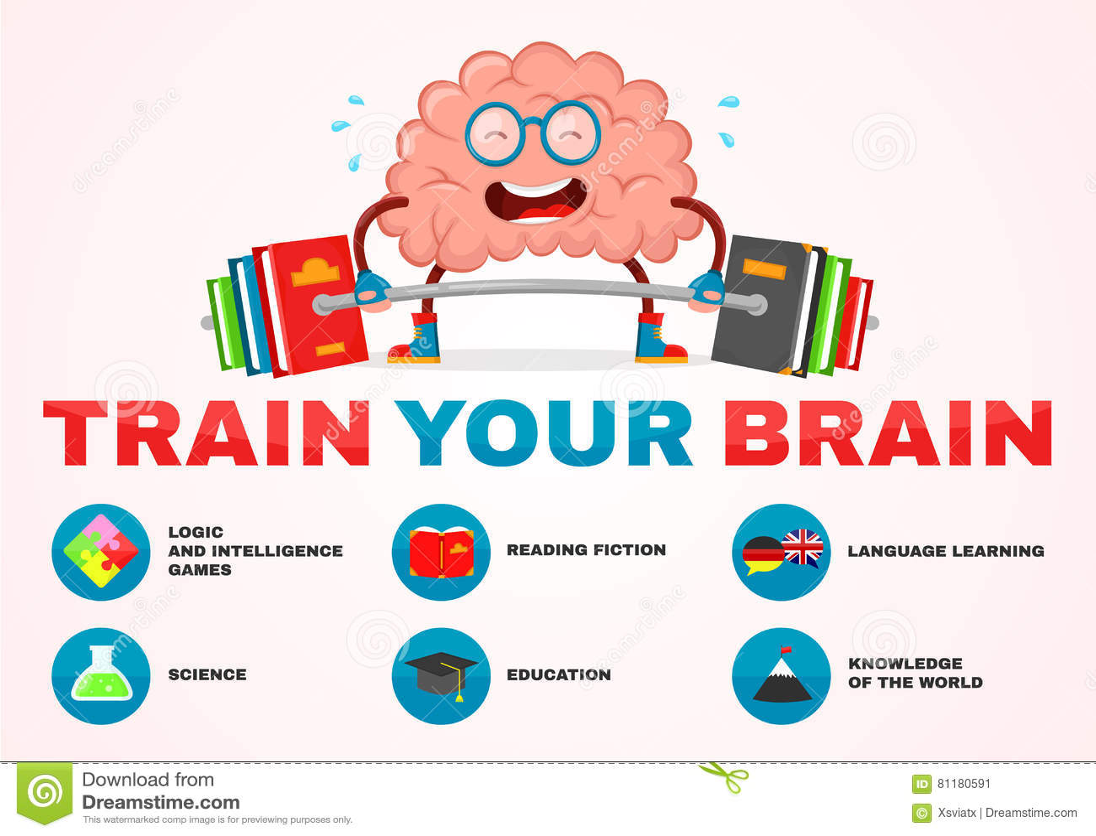 Натренируйте ваш мозг infographic характера потехи иллюстрации шаржа вектора мозга дизайн плоского творческий образование, наука,