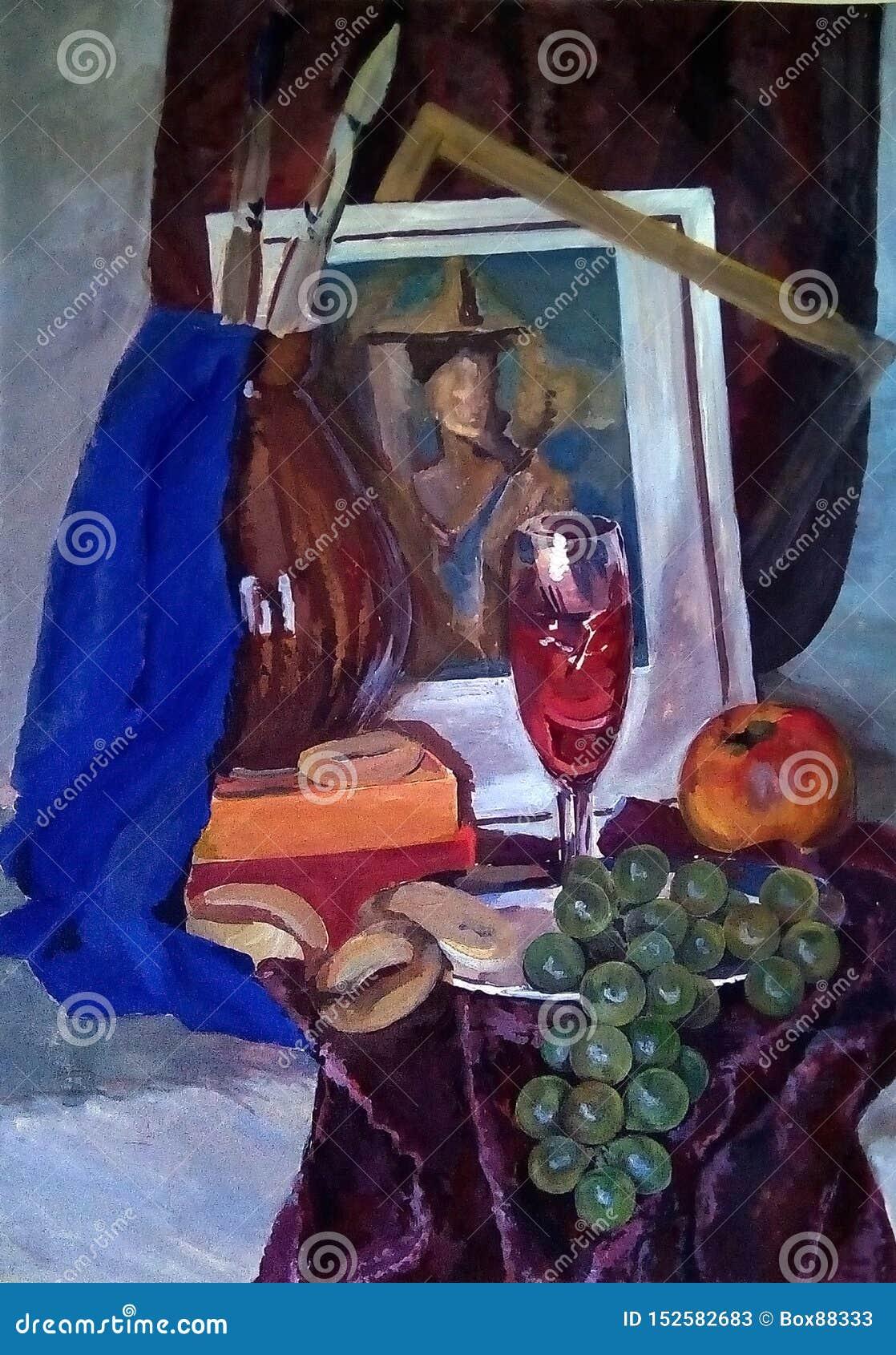 Натюрморт сделанный в гуаши на бумаге Связка винограда, яблоко, бейгл, вино в стекле, кувшин и другие детали