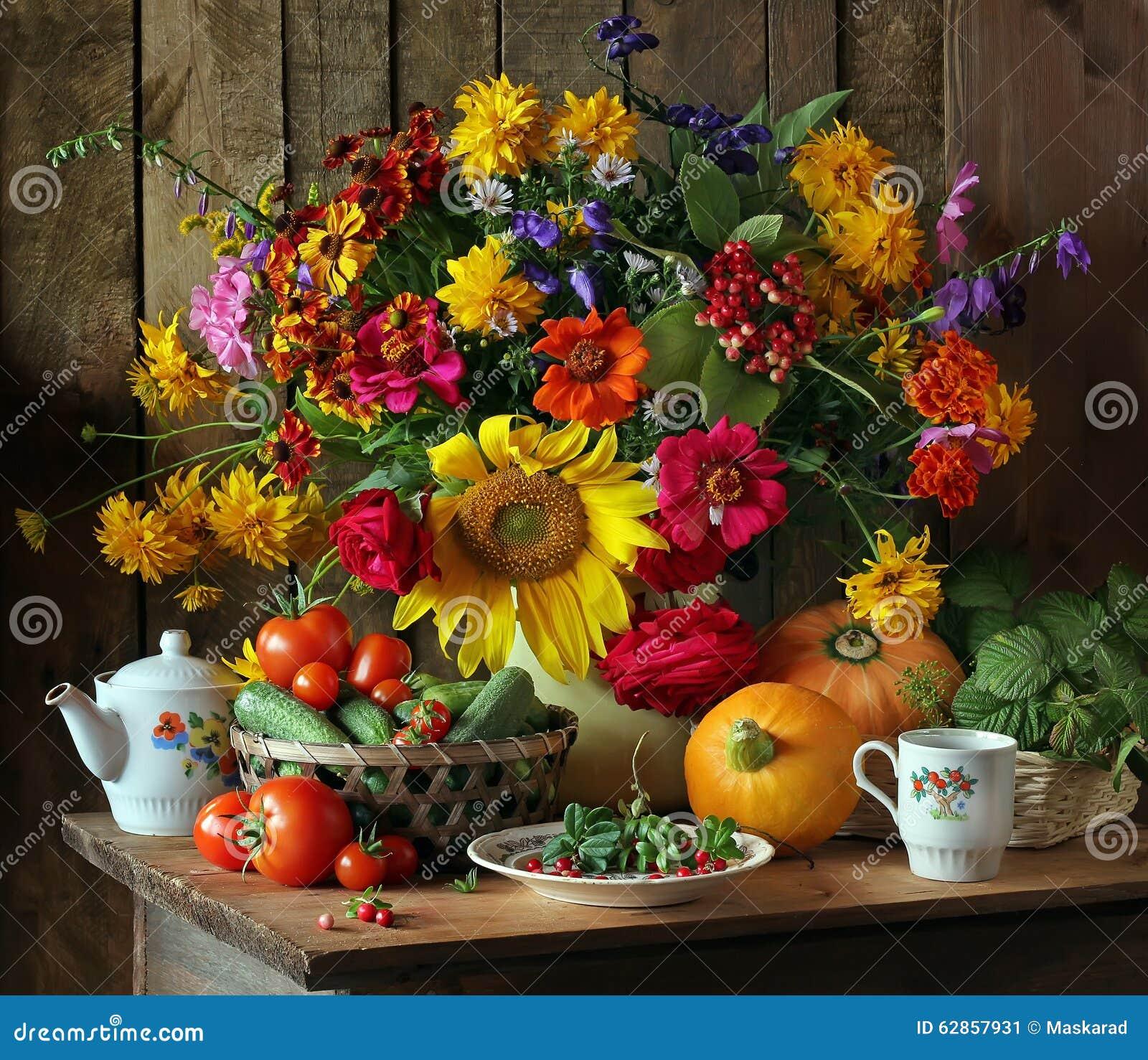 Натюрморт с цветками и овощами auk