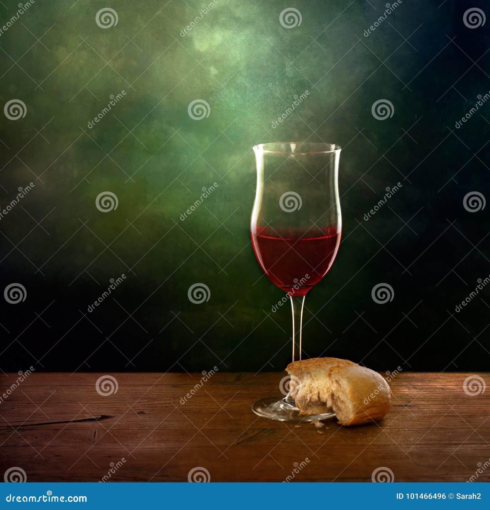 Натюрморт хлеба и вина Художническое изображение